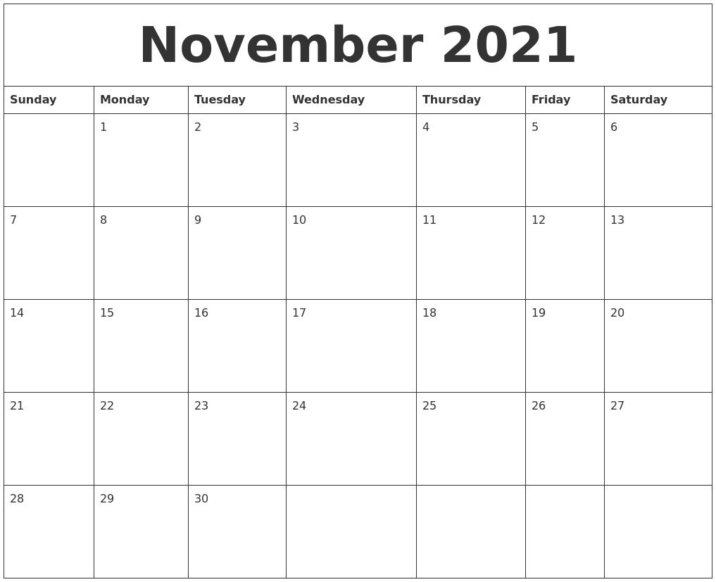 November 2021 Calendar Pages pertaining to Calendar 2021 November Fill In