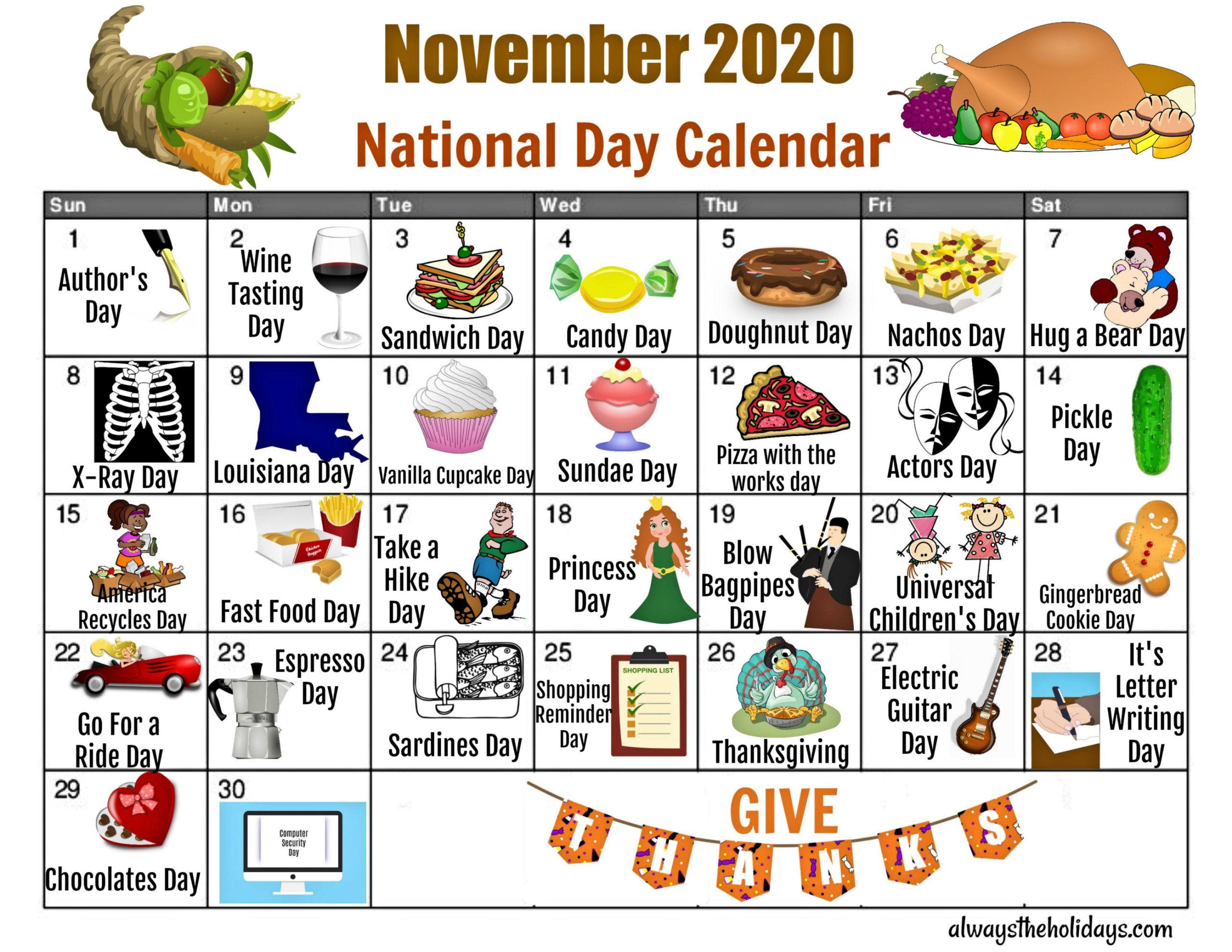 November National Day Calendar - Free Printable Calendars in Printable National Day Calendar 2021