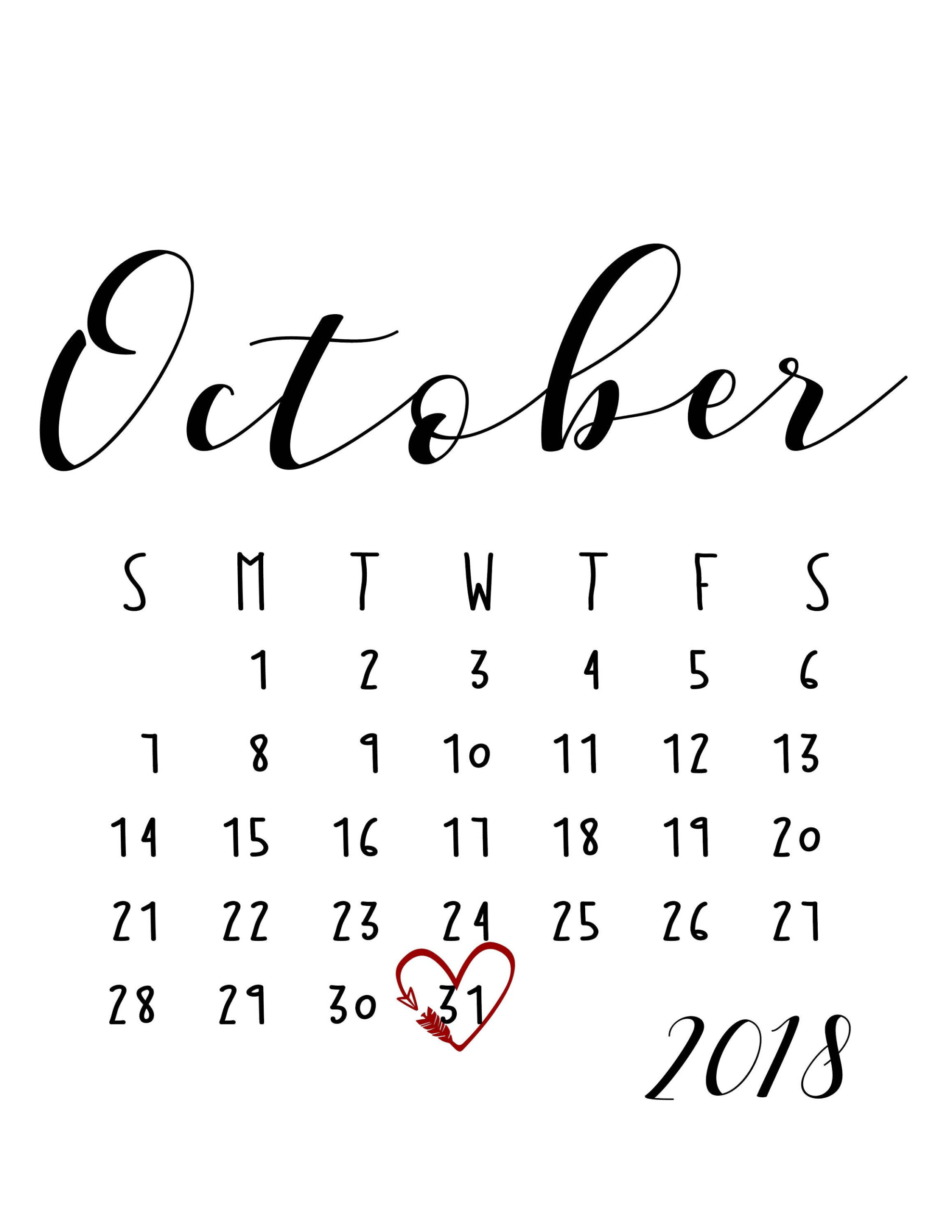October 2018 Large Number Calendar | Baby Due Date Calendar in Large Number Calendar