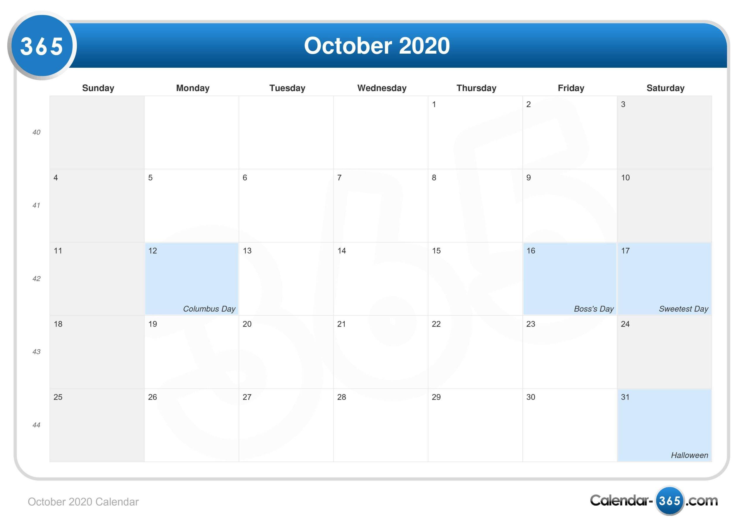 October 2020 Calendar regarding Bring Up A Calendar For October