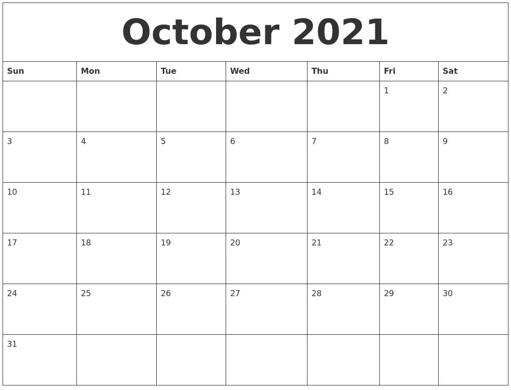 October 2021 Editable Calendar Template intended for 2021 Fillable Calendar Free Printable