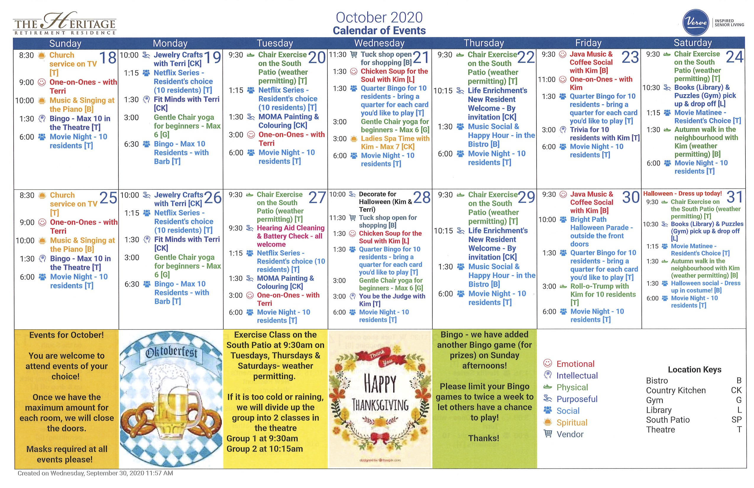 October Calendar - The Heritage Retirement Residence within Bring Up A Calendar For October