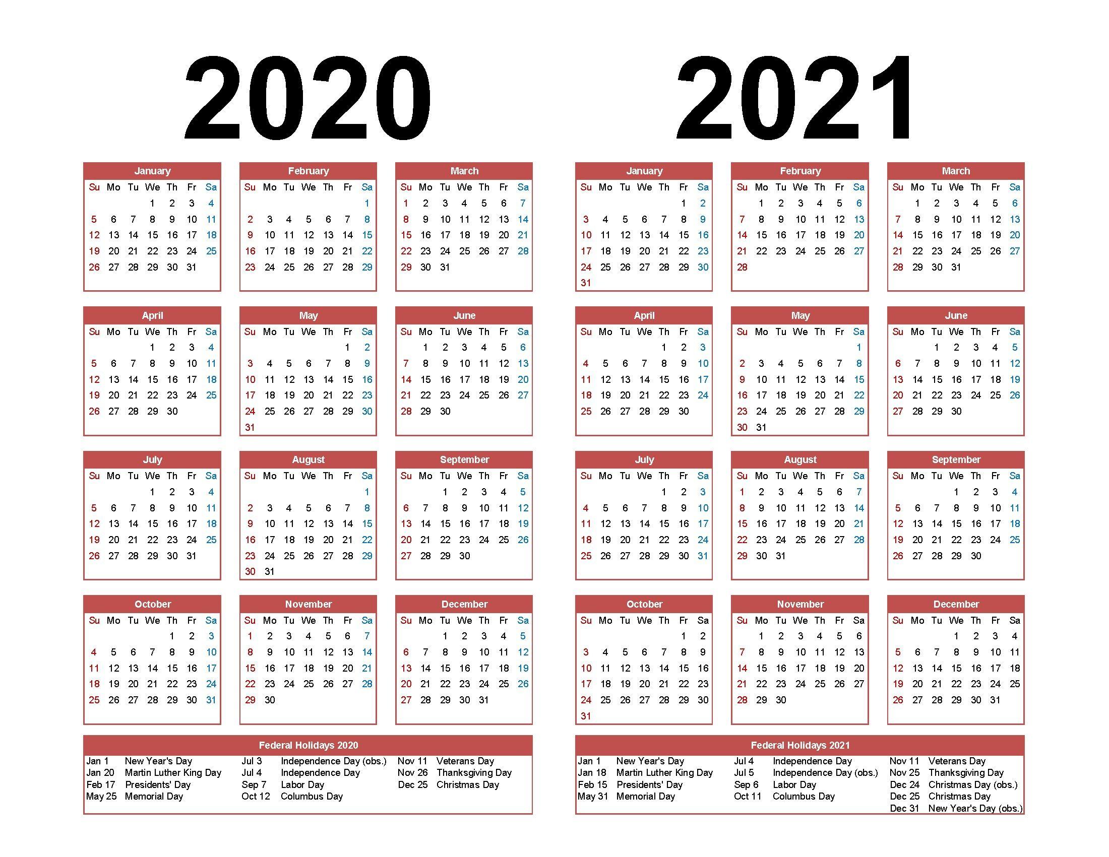 Online Printable Calendar 2021 2 Years In 2020 | Printable inside 2021-2021 Two Year Planner: 2 Year