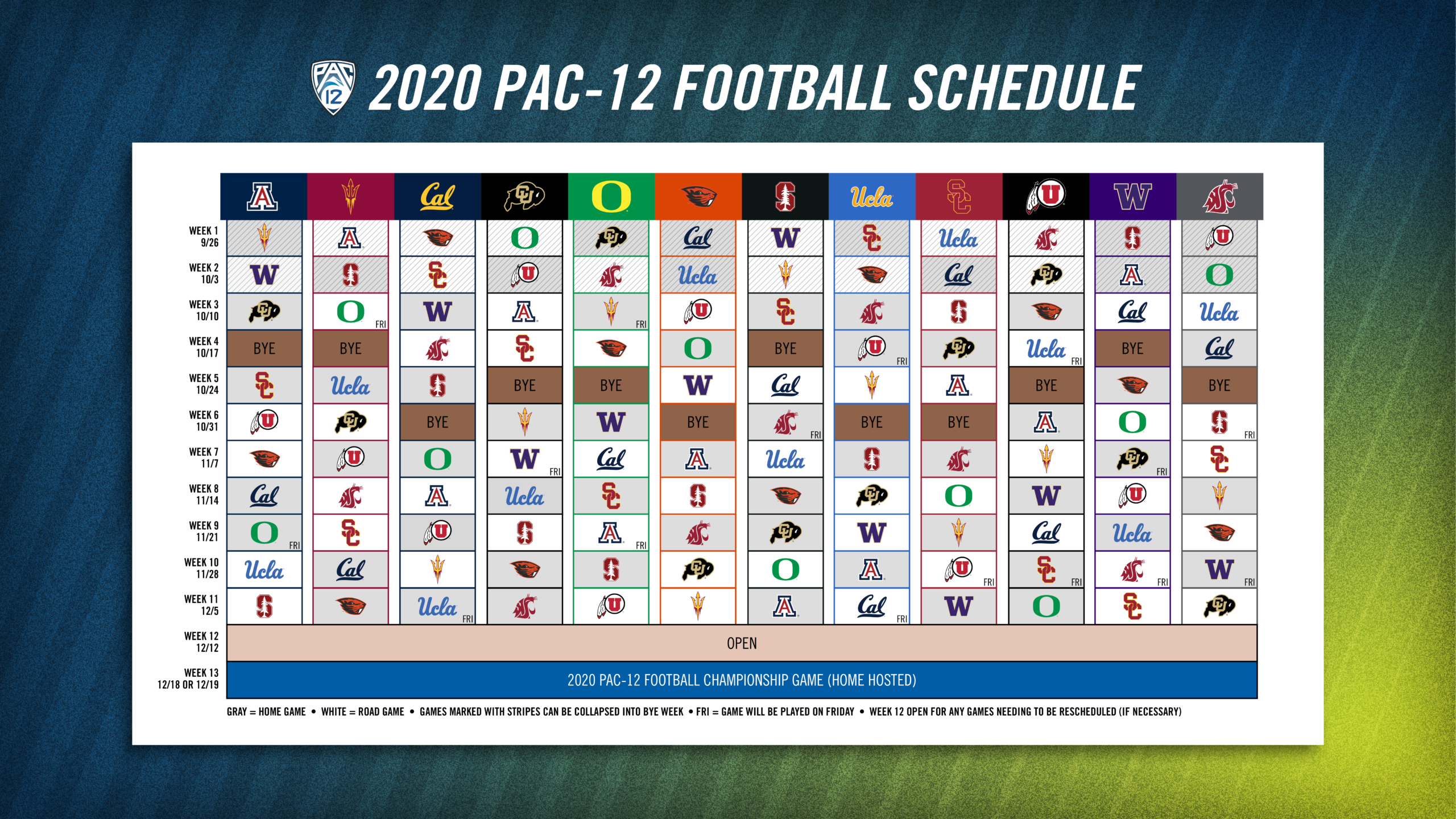 Pac-12 Approves 2020 Football Schedule & Plans For Fall throughout Nfl 2021 Schedule Printable
