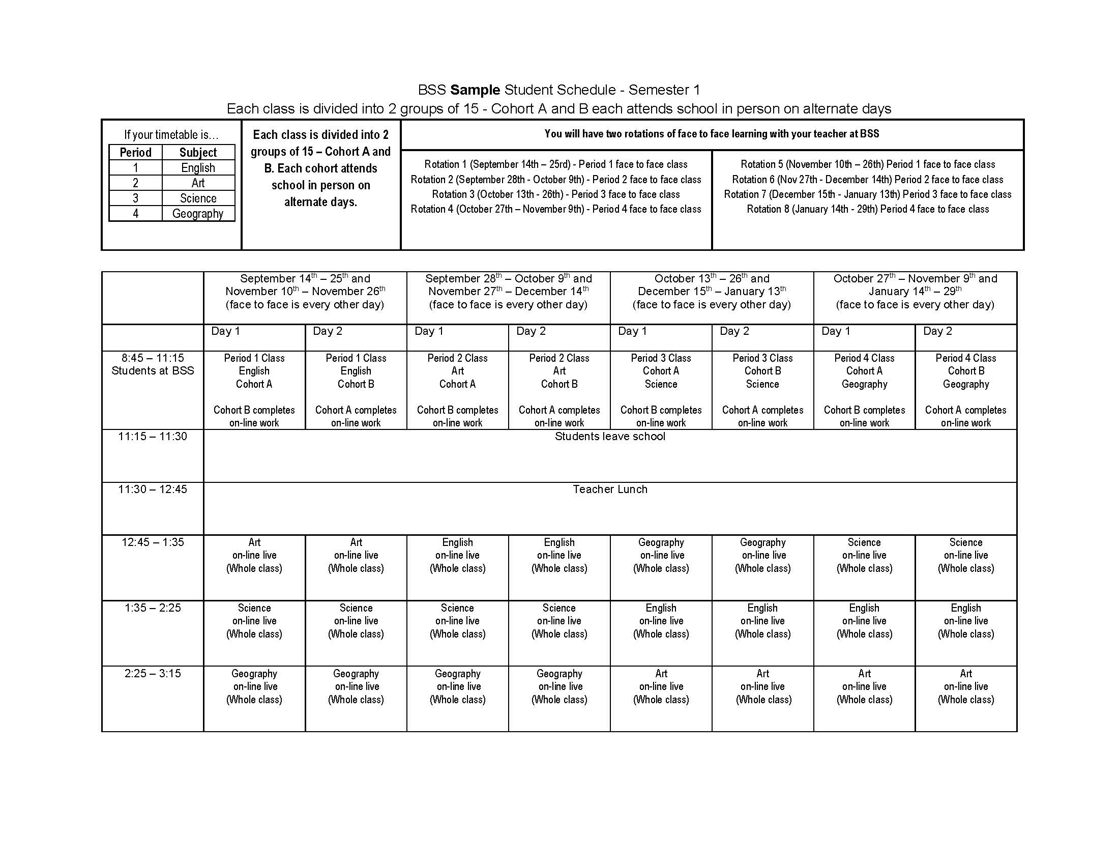 Pages - Timetable inside Yrdsb School Calender