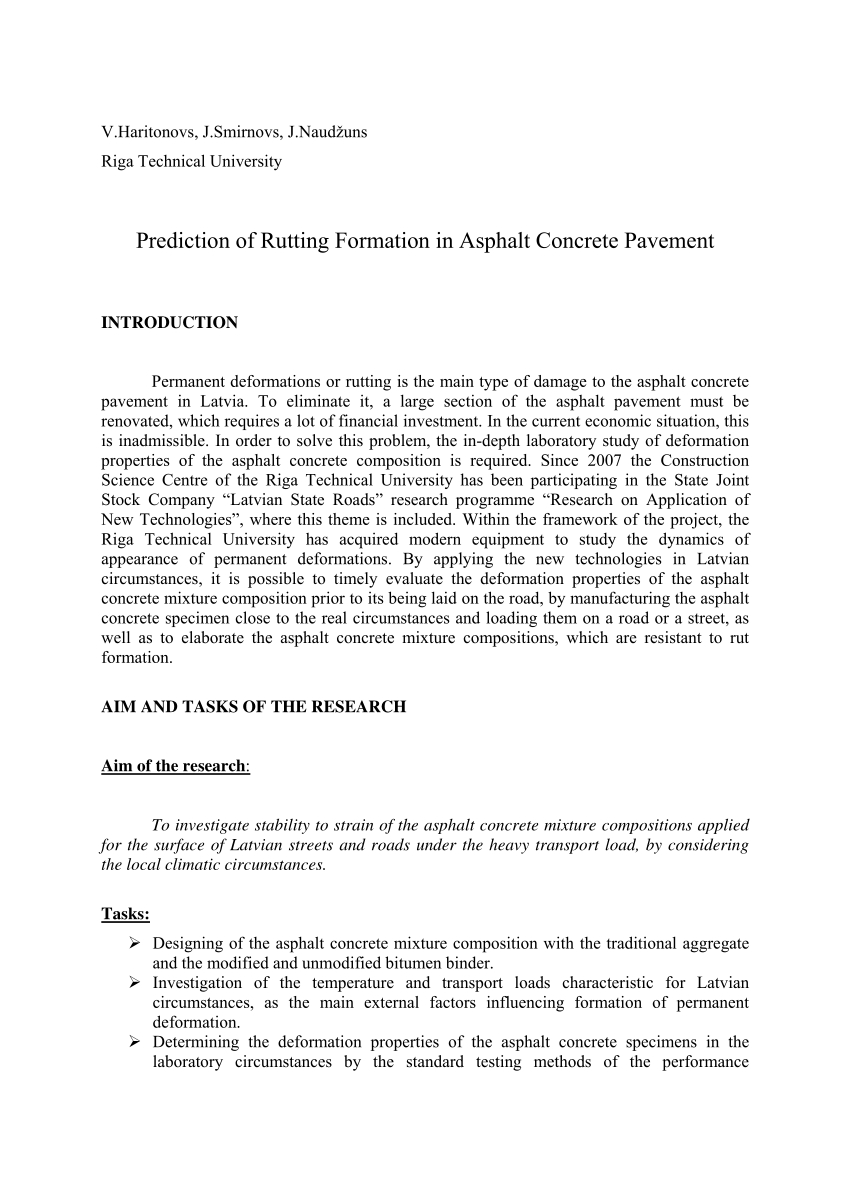 Pdf) Prediction Of Rutting Formation In Asphalt Concrete intended for 2021 Pa Rut Prediction