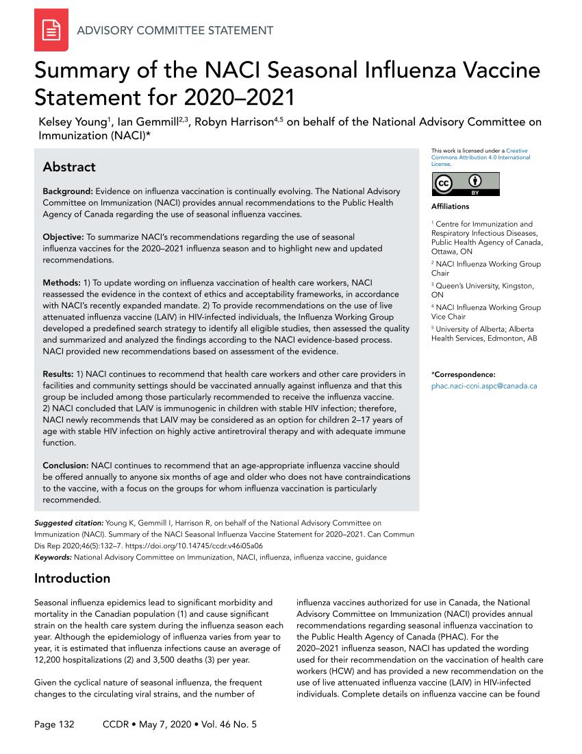 Pdf) Summary Of The Naci Seasonal Influenza Vaccine regarding Cdc Mcgeers Criteria 2021