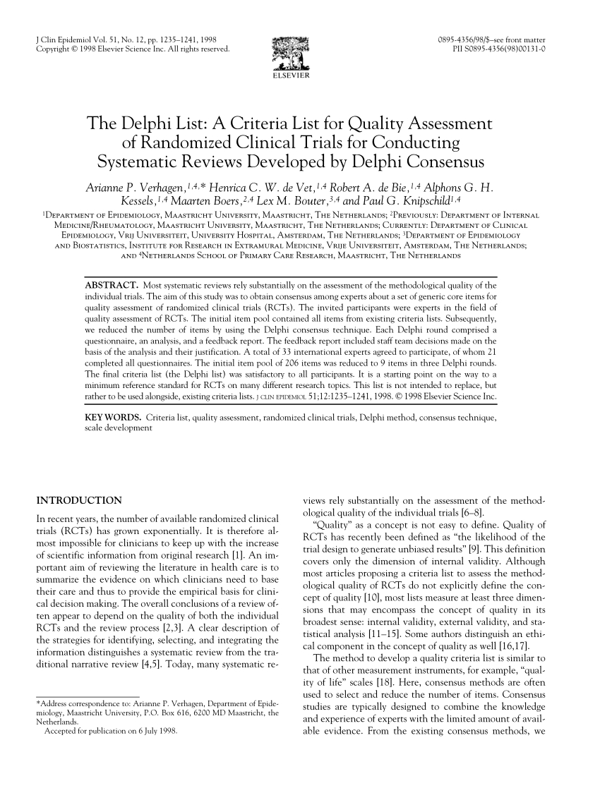 Pdf) The Delphi List: A Criteria List For Quality Assessment intended for Mcgeers Criteria 2021 Checklist