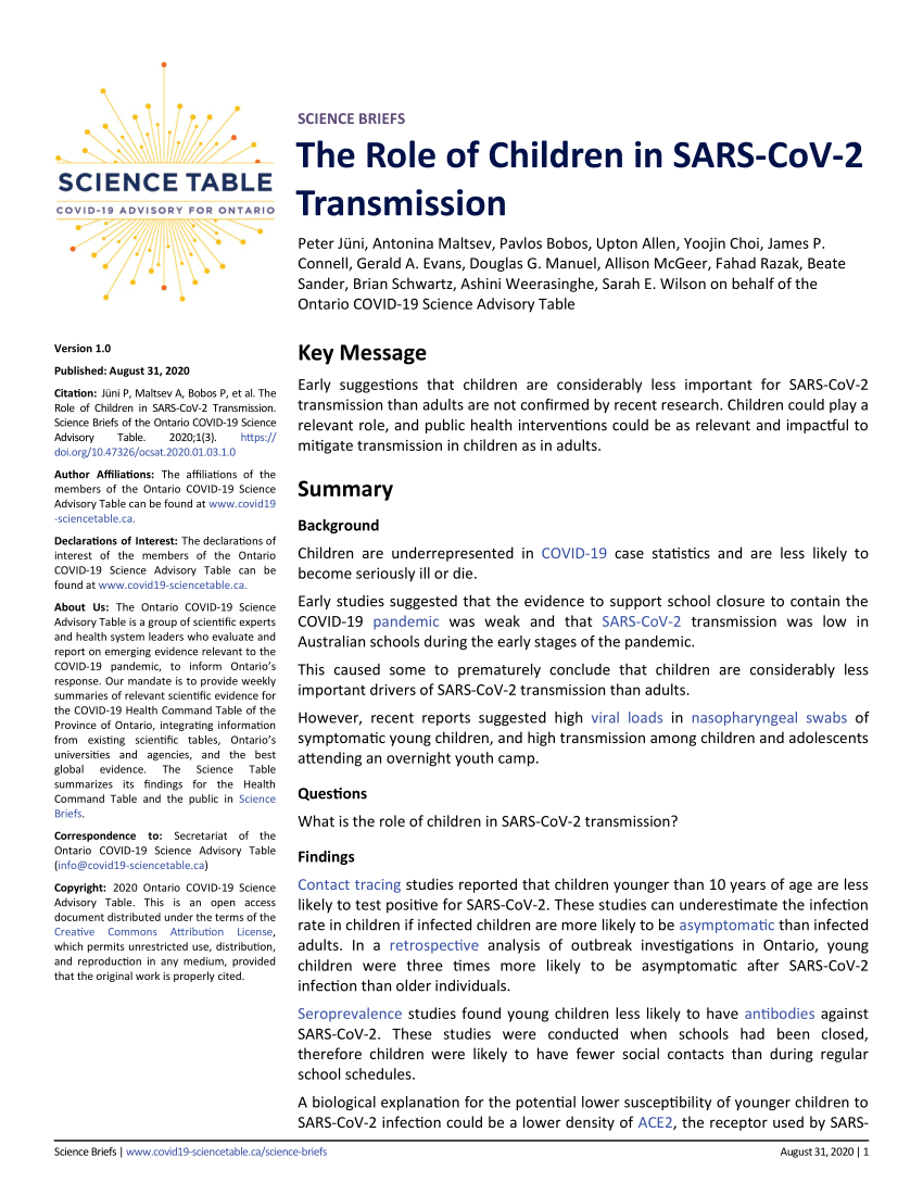 Pdf) The Role Of Children In Sars-Cov-2 Transmission with regard to Mcgreers Criteria 2021