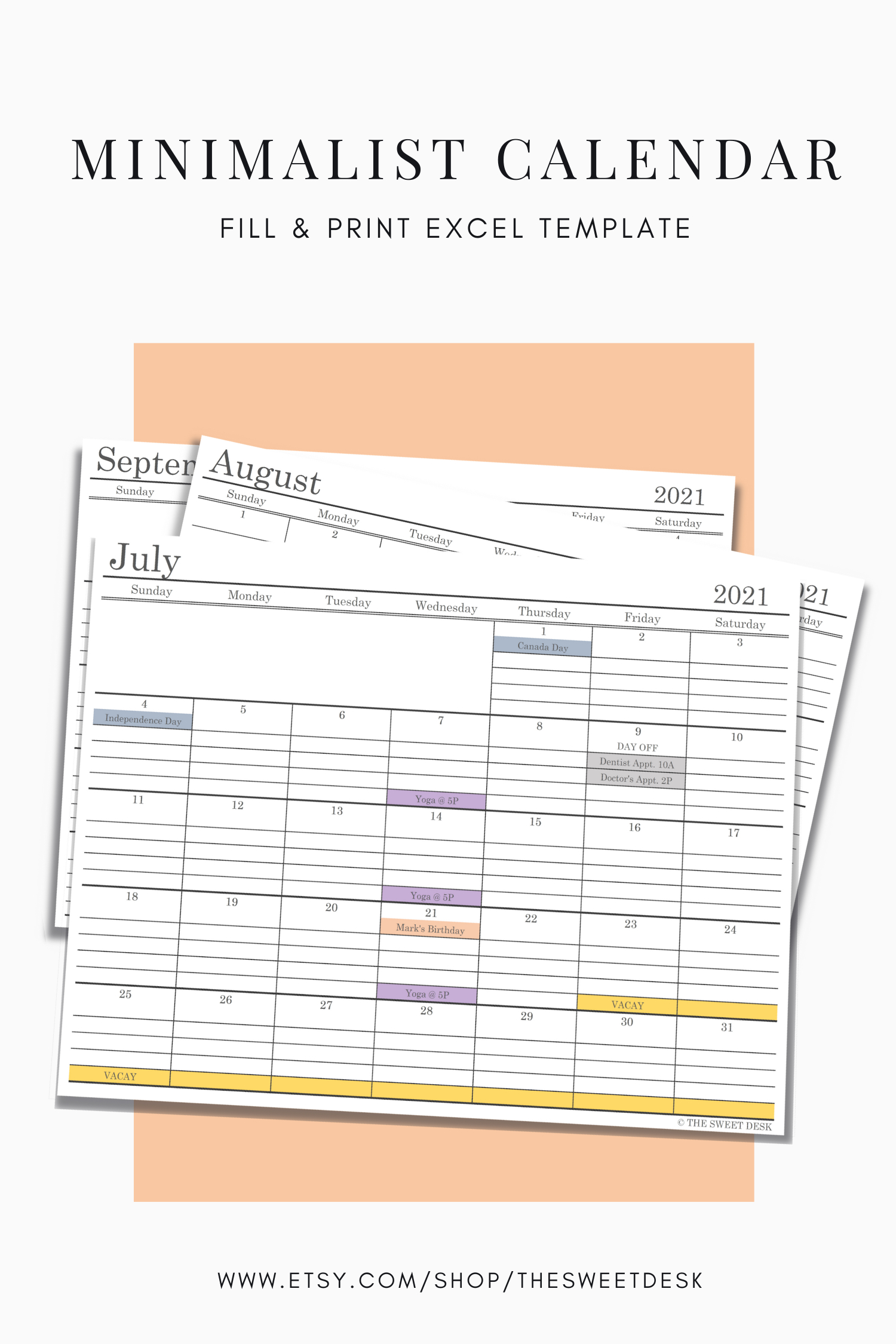 Pin On Excel Spreadsheets | Diy Calendars And Planners intended for Sunday To Saturday Year Calendar 2021/21