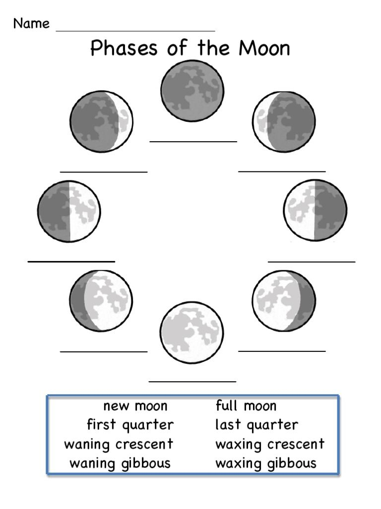Pin On Science intended for Phases Moon Printable