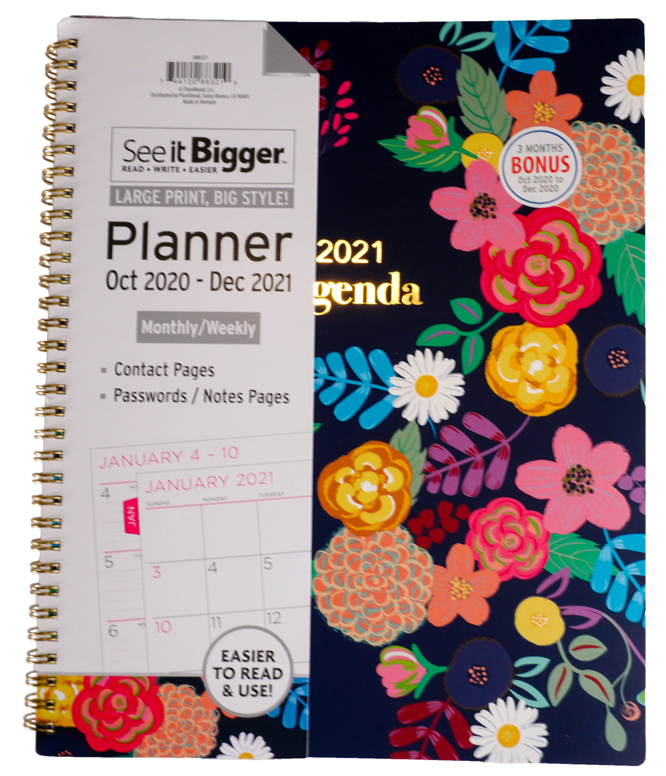 """Planahead See It Bigger, Planner, Oct 2020-Dec 2021, Monthly/Weekly, 9.75 X  11"""" - Walmart inside Hunting Planner 2021 Monthly"""