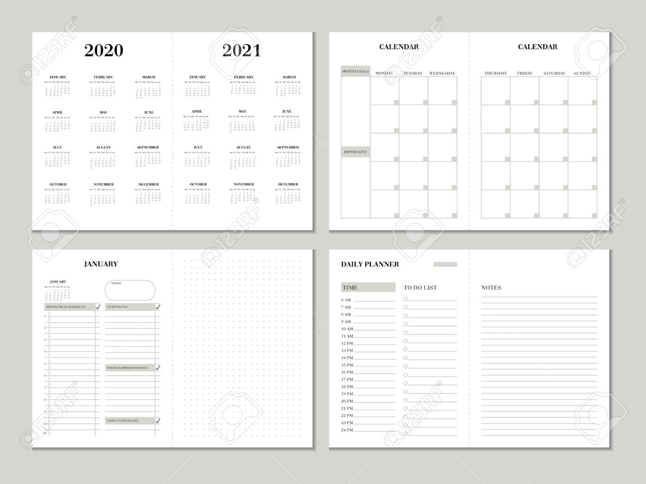 Planner Design Template For 2020 2021 Year. Weekly And Monthly.. with 2021 Planner: Weekly Calendar Planner