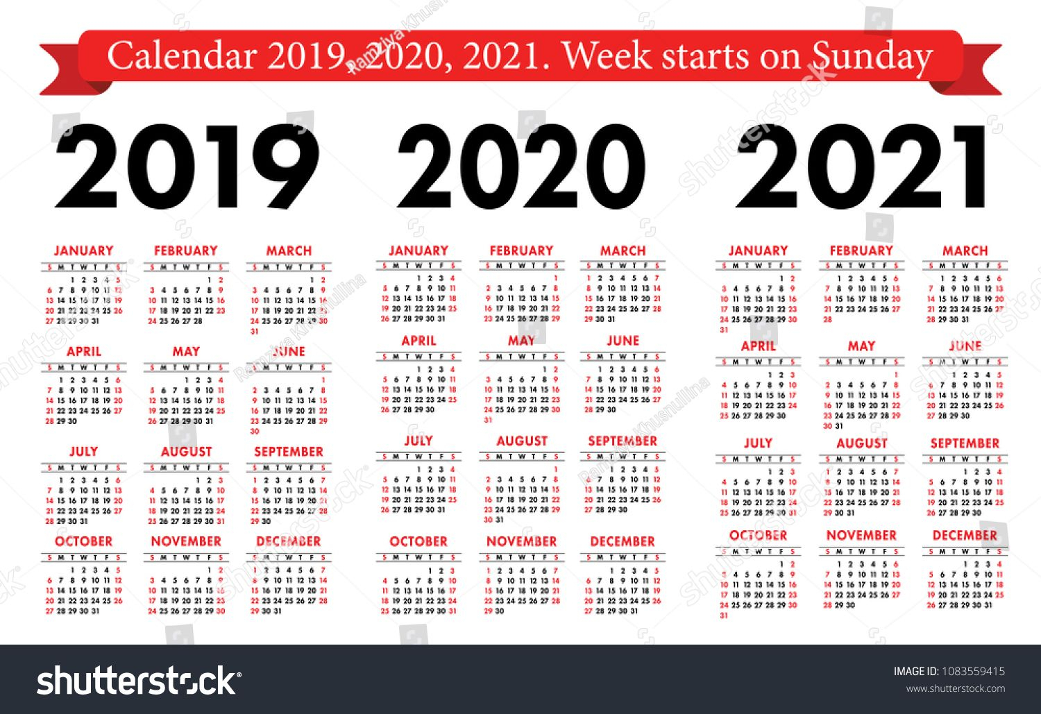 Pocket Calendar 2019, 2020, 2021 Set. Basic Simple Template with 2021 Pocket Calendar