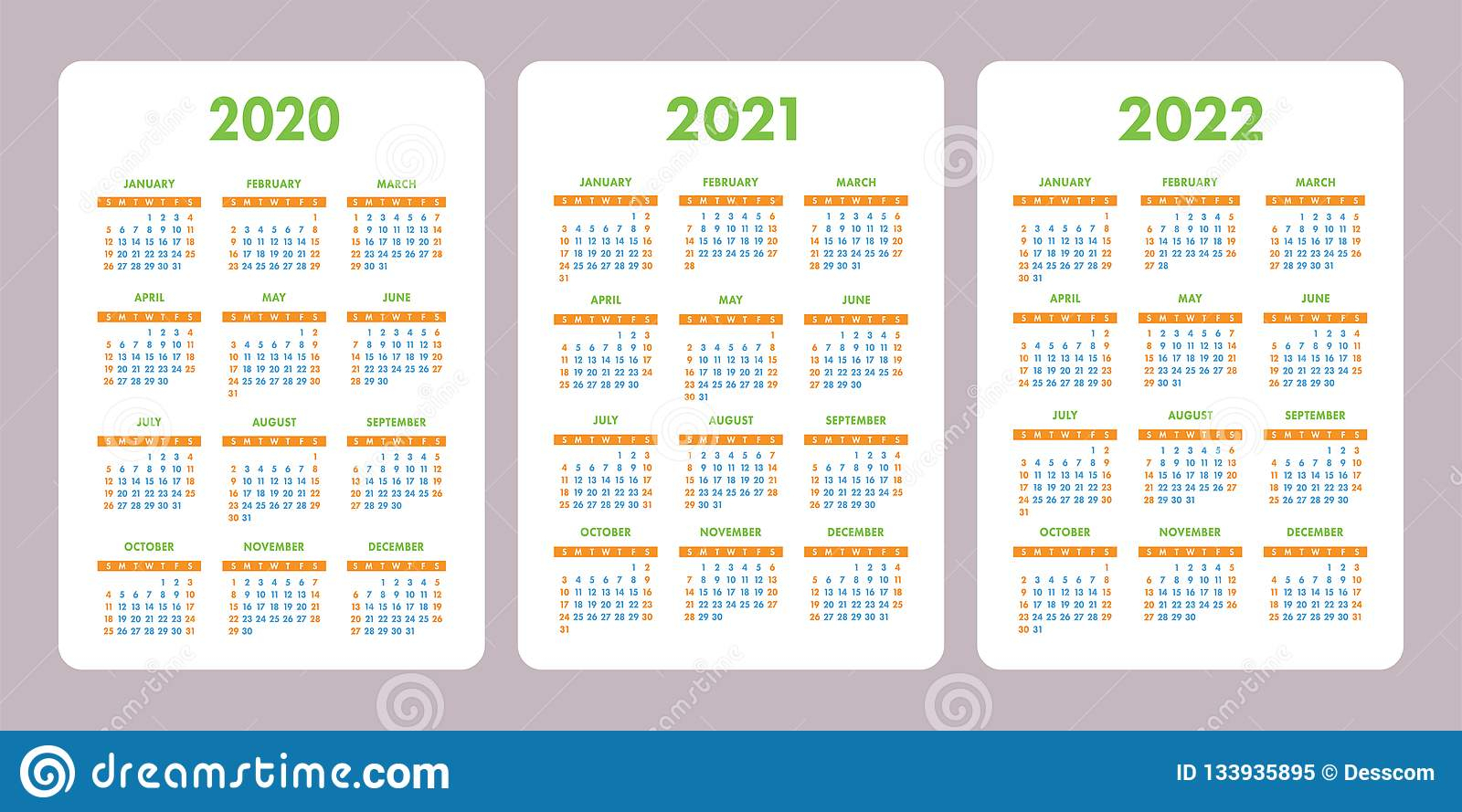 Pocket Calendar 2020, 2021, 2022 Years. Vertical Vector regarding 2021 Pocket Calendar