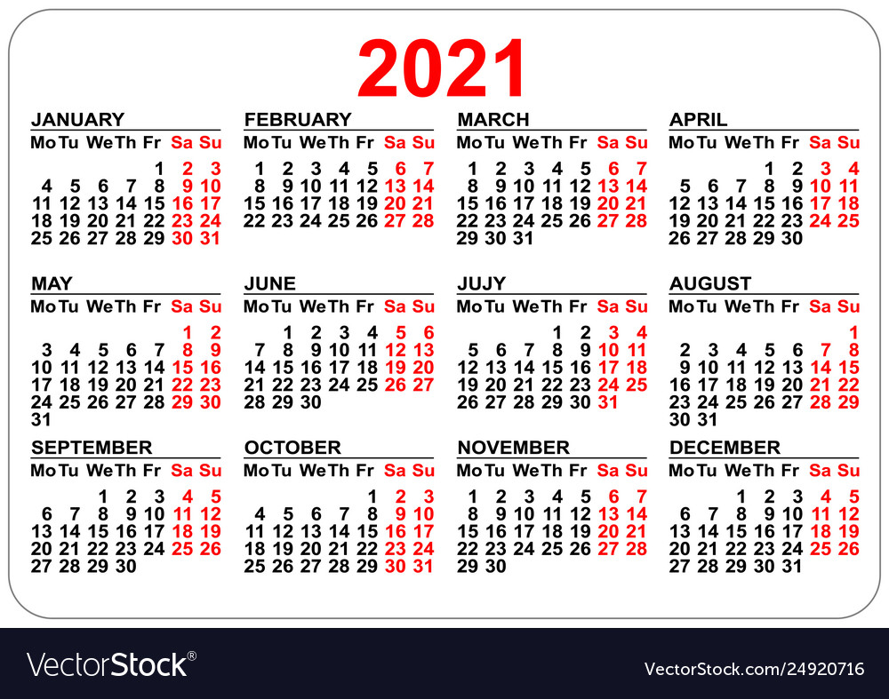 Pocket Calendar 2021 Grid Template Isolated On Vector Image throughout 2021 Pocket Calendar