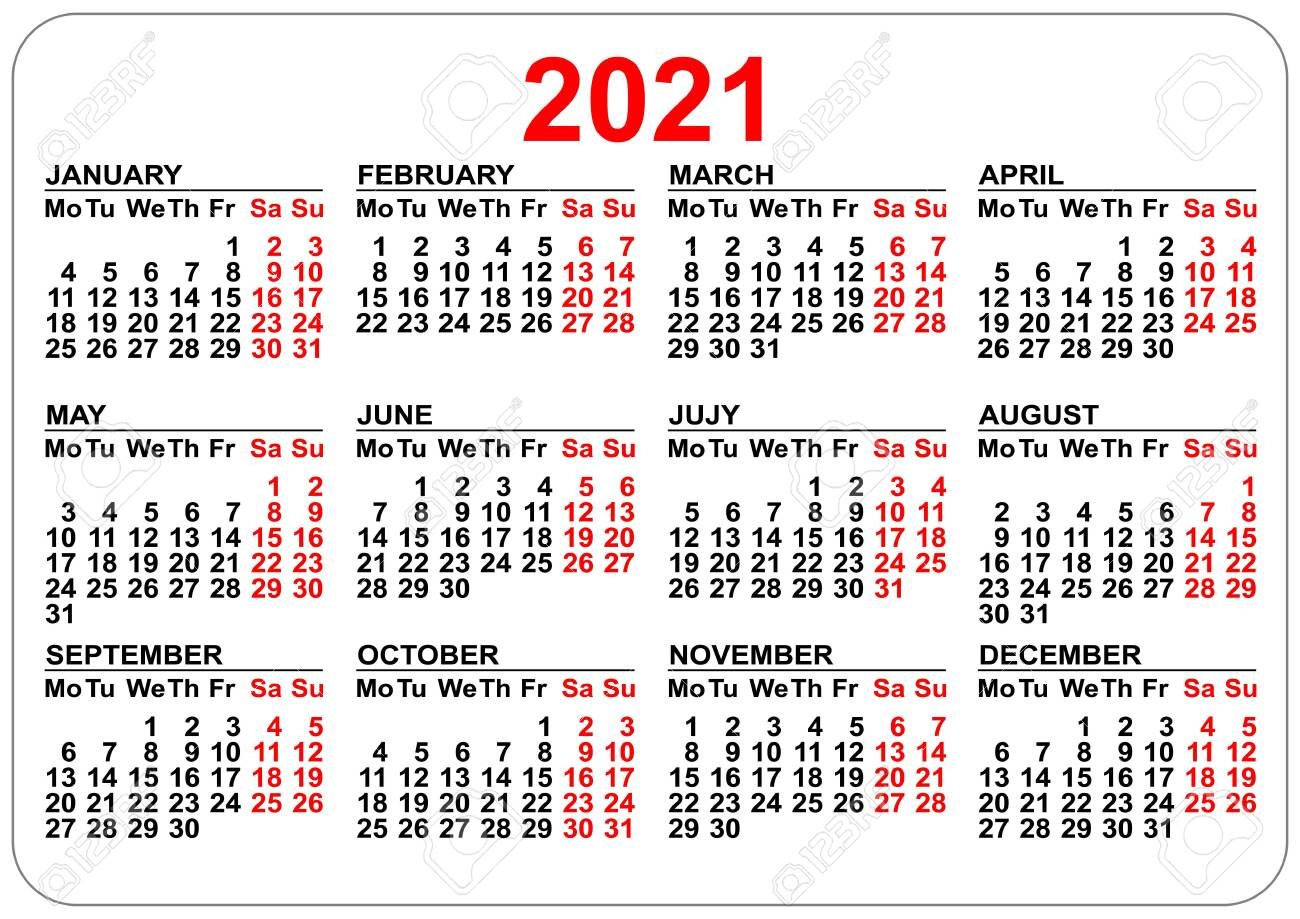 Pocket Calendar 2021 Grid Template Isolated On White. Vector.. throughout 2021 Pocket Calendar Template