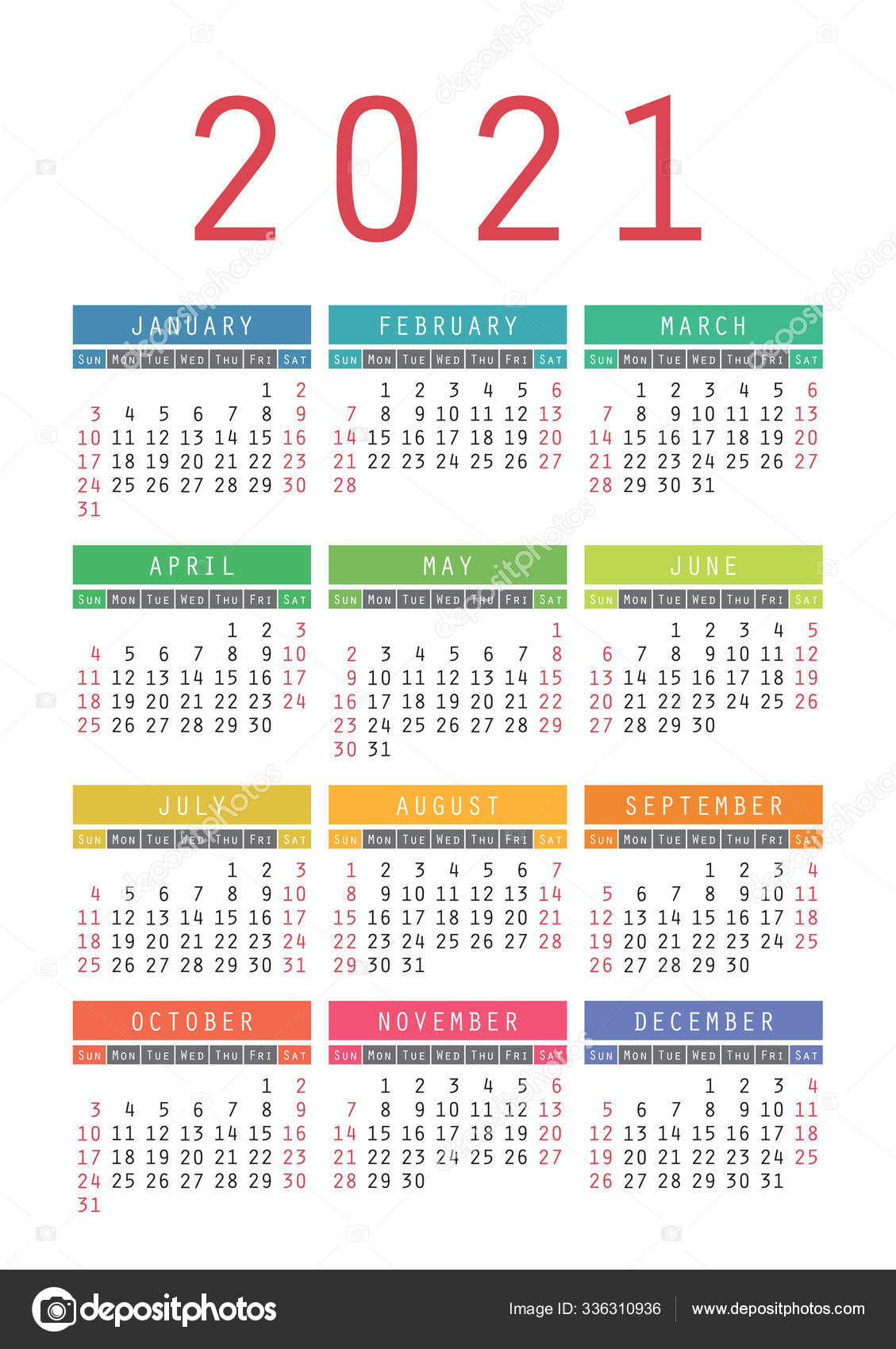 Pocket Calendar 2021 Year. Vector Wall Calender Template. Simple 336310936 intended for 2021 Pocket Calendar