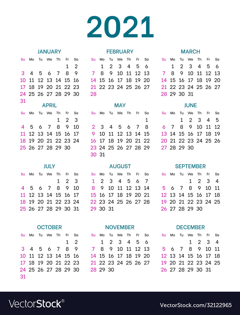 Pocket Calendar Layout For 2021 Year Royalty Free Vector for 2021 Pocket Calendar