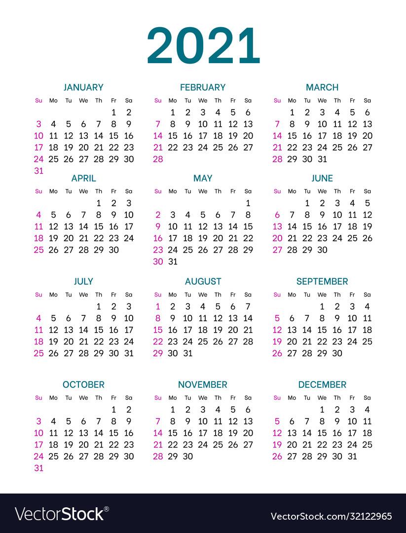 Pocket Calendar Layout For 2021 Year Royalty Free Vector for 2021 Printable Pocket Calendars