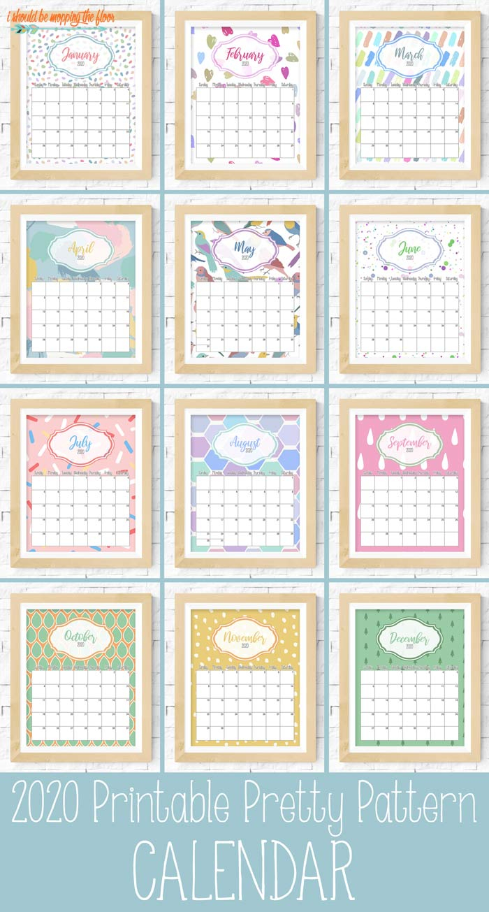 Pretty Pattern Printable Calendar 2020 | I Should Be Mopping inside Fill In Calendar Printable