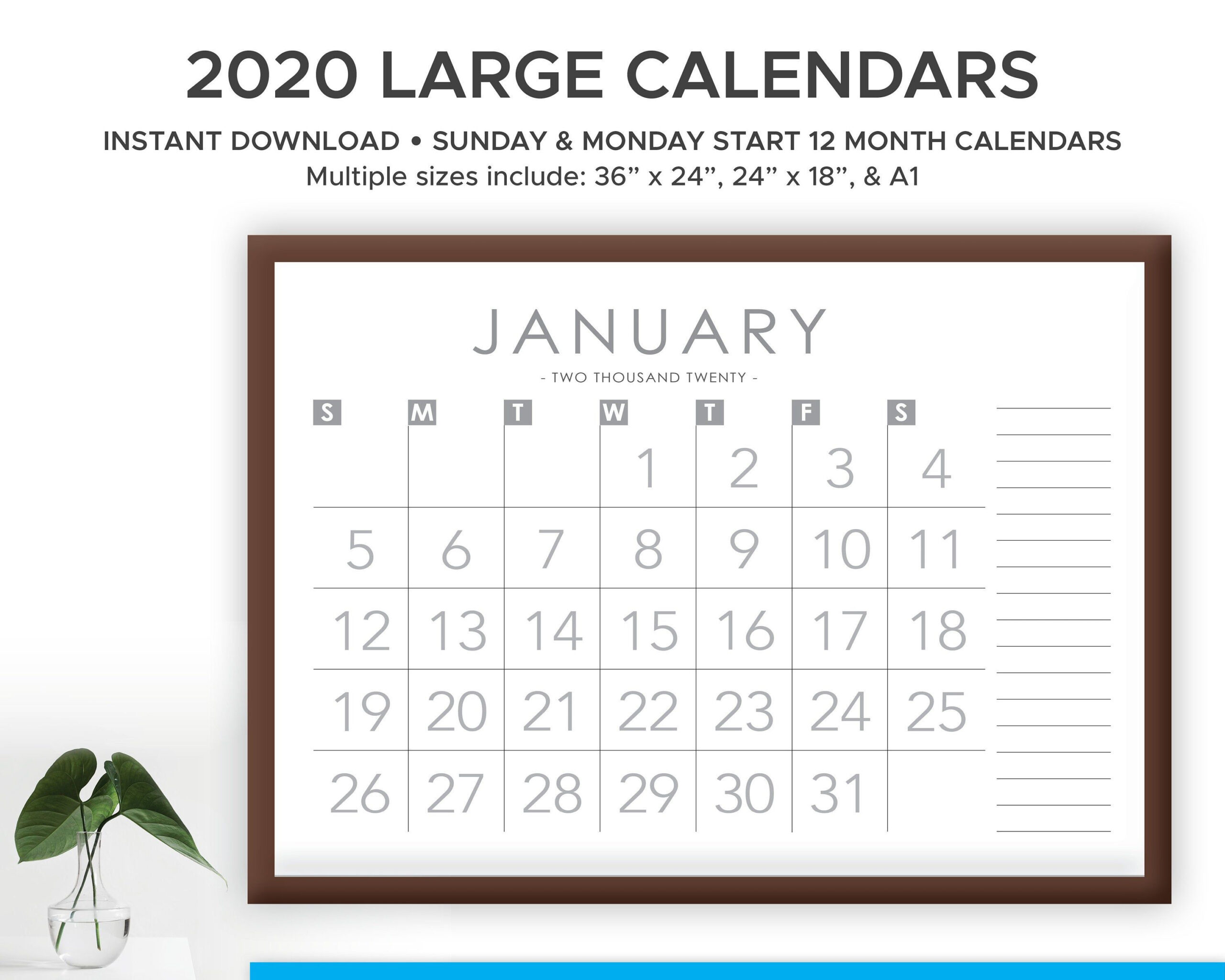 Printable 2020 And 2021 Large Print Modern Monthly Wall throughout 2021 Large Print Calendar Monthly