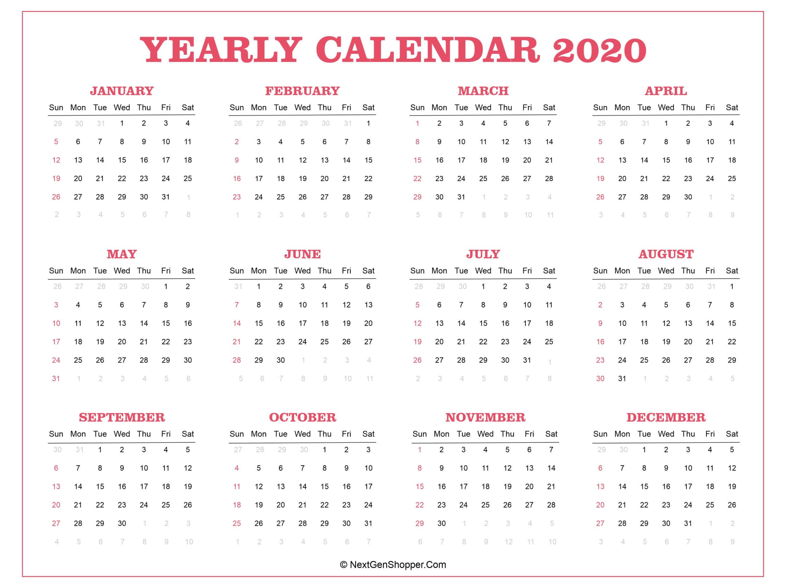Printable 2020 Calendar Template - Task Management Guide for Federal Government Calendar Printable