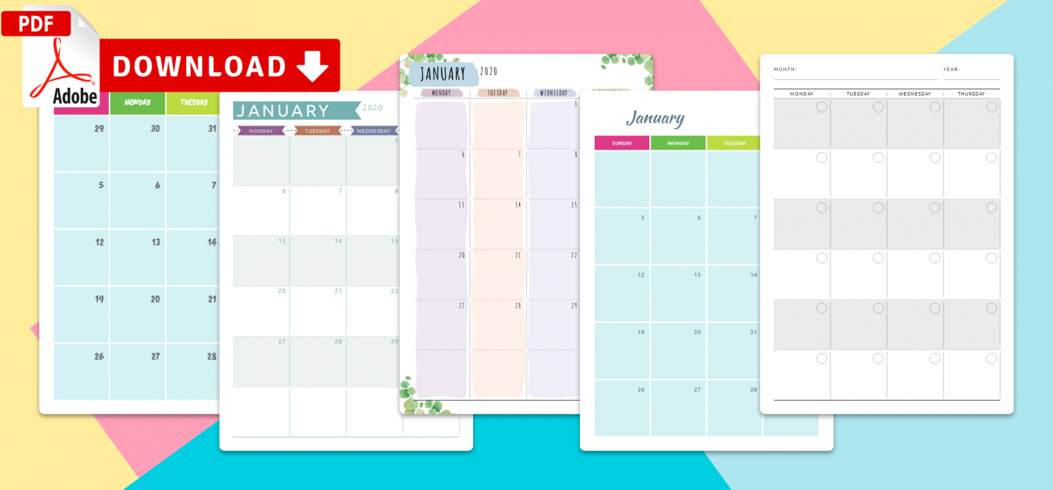 Printable 2020 Calendars Templates - Download Pdf throughout 2021 2021 2 Year Monthly Planner Live
