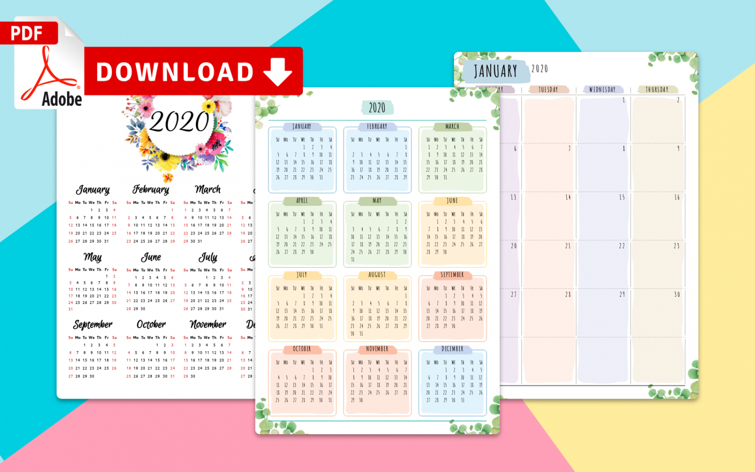 Printable 2020 Calendars Templates - Download Pdf within 2021 2021 2 Year Monthly Planner Live