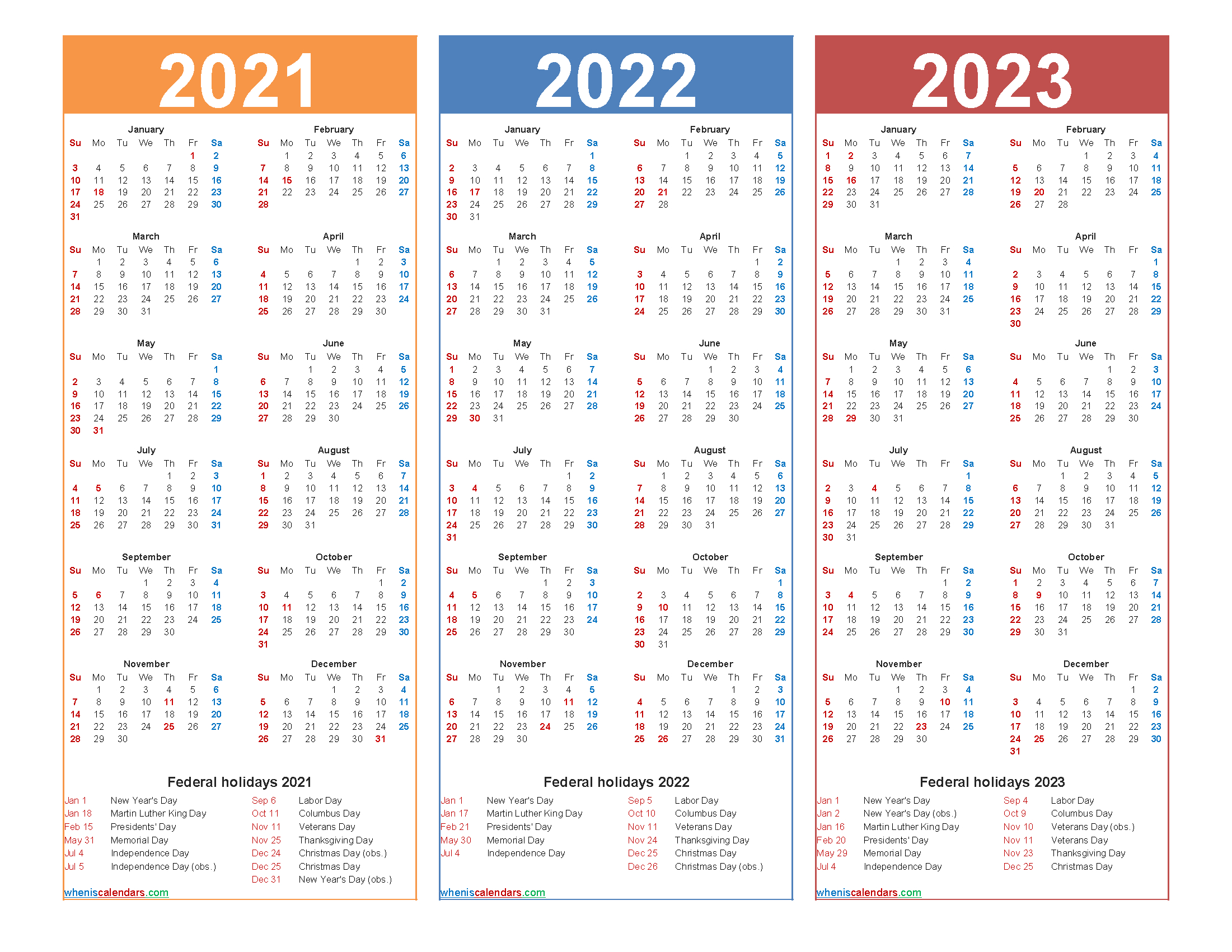 Printable 2021 2022 And 2023 Calendar With Holidays with regard to Three Year Printable Calendar 2021 To 2023