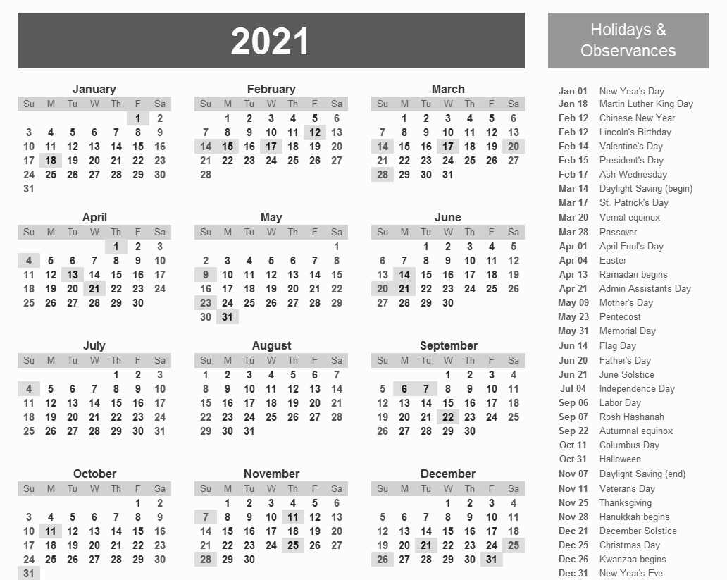 Printable 2021 Calendar With Holidays In 2020 | Printable intended for Printfree Calendar 2021 With Date Boxes