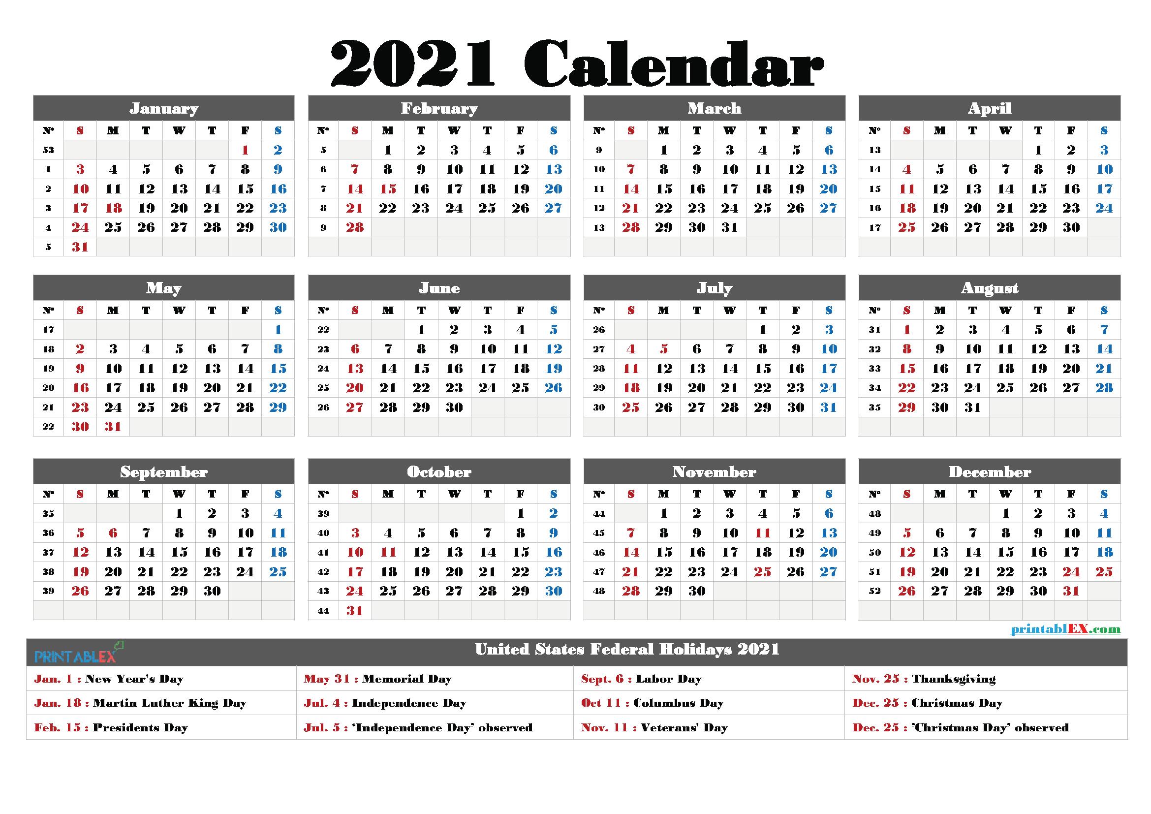 Printable 2021 Calendar With Holidays regarding Federal Government Calendar 2021 Printable