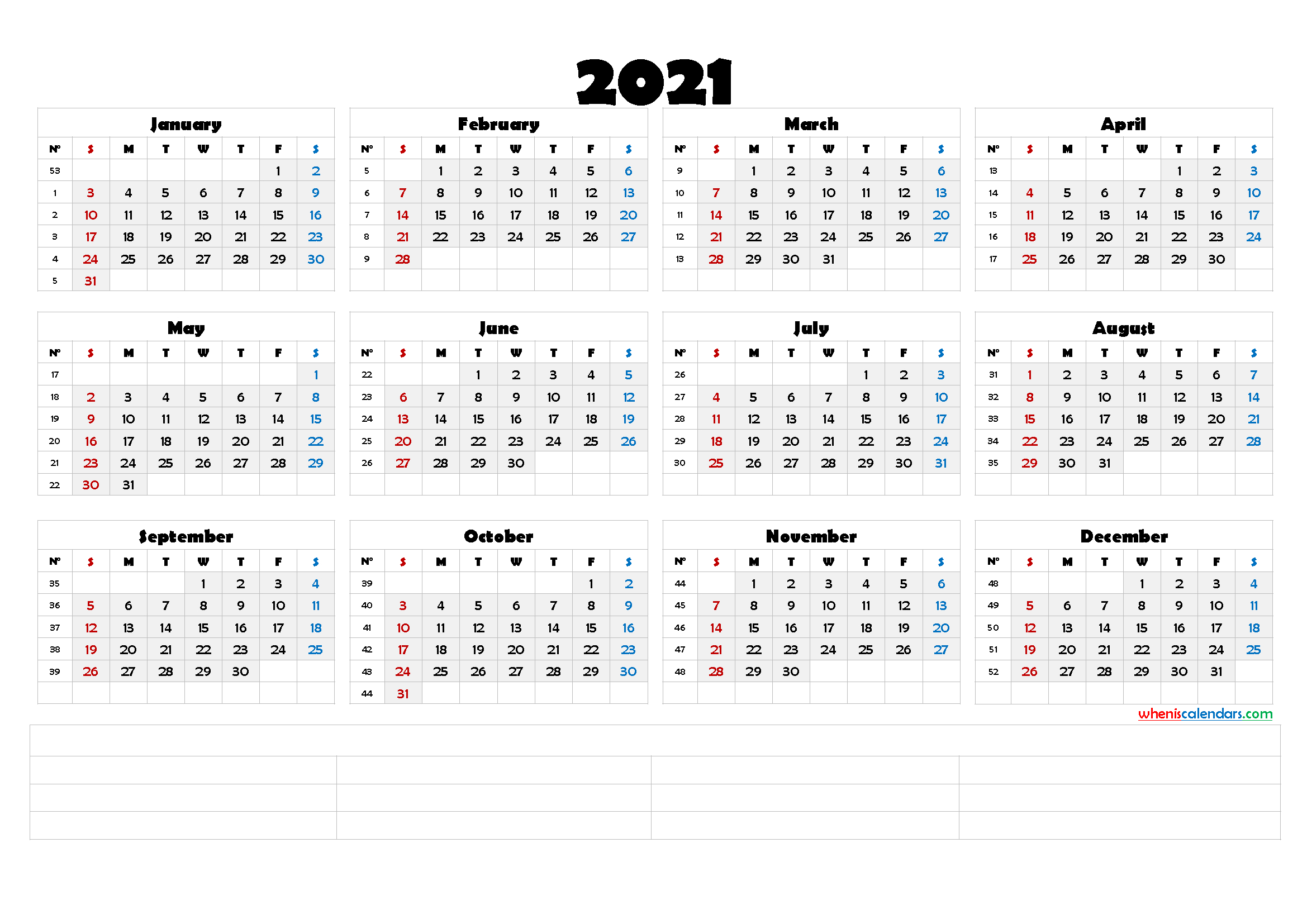 Printable 2021 Calendar With Week Numbers (6 Templates) intended for Monthly Calendar By Week Number 2021