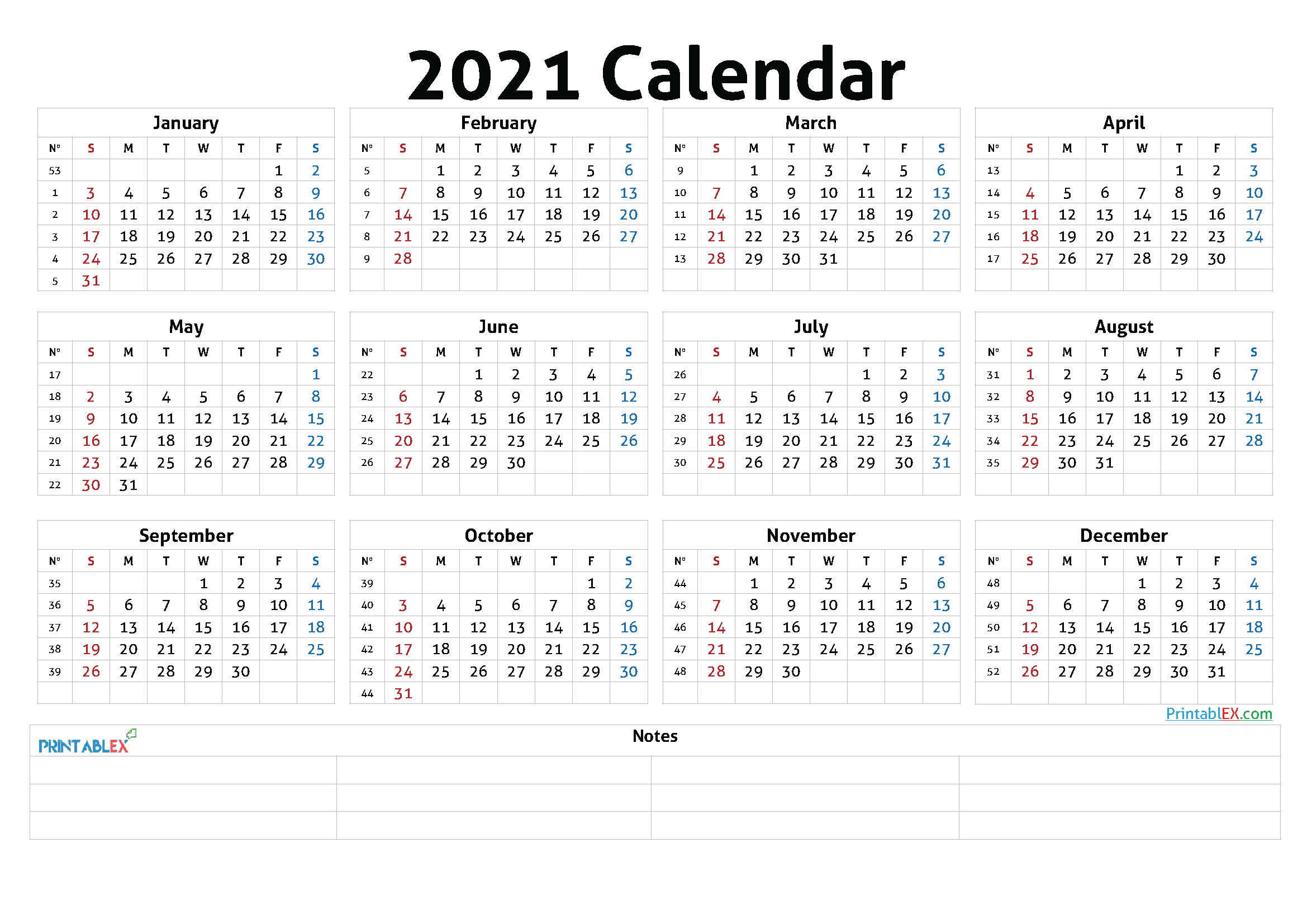 Printable 2021 Calendaryear with 2021 Printable Calendar With Boxes Yearly