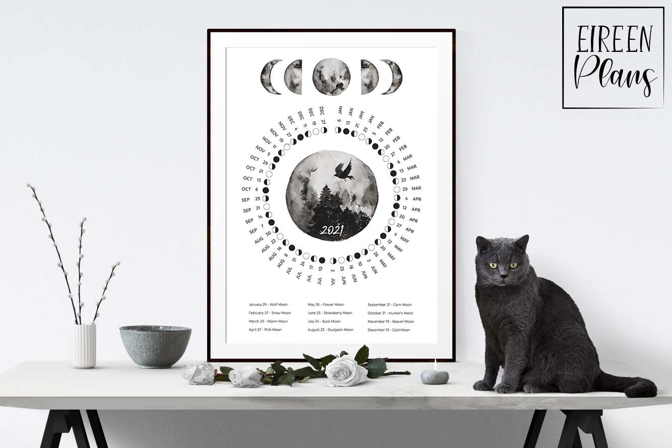 Printable 2021 Moon Phases Calendar With Full Moon Names regarding Full Moon Calendar 2021 Printable