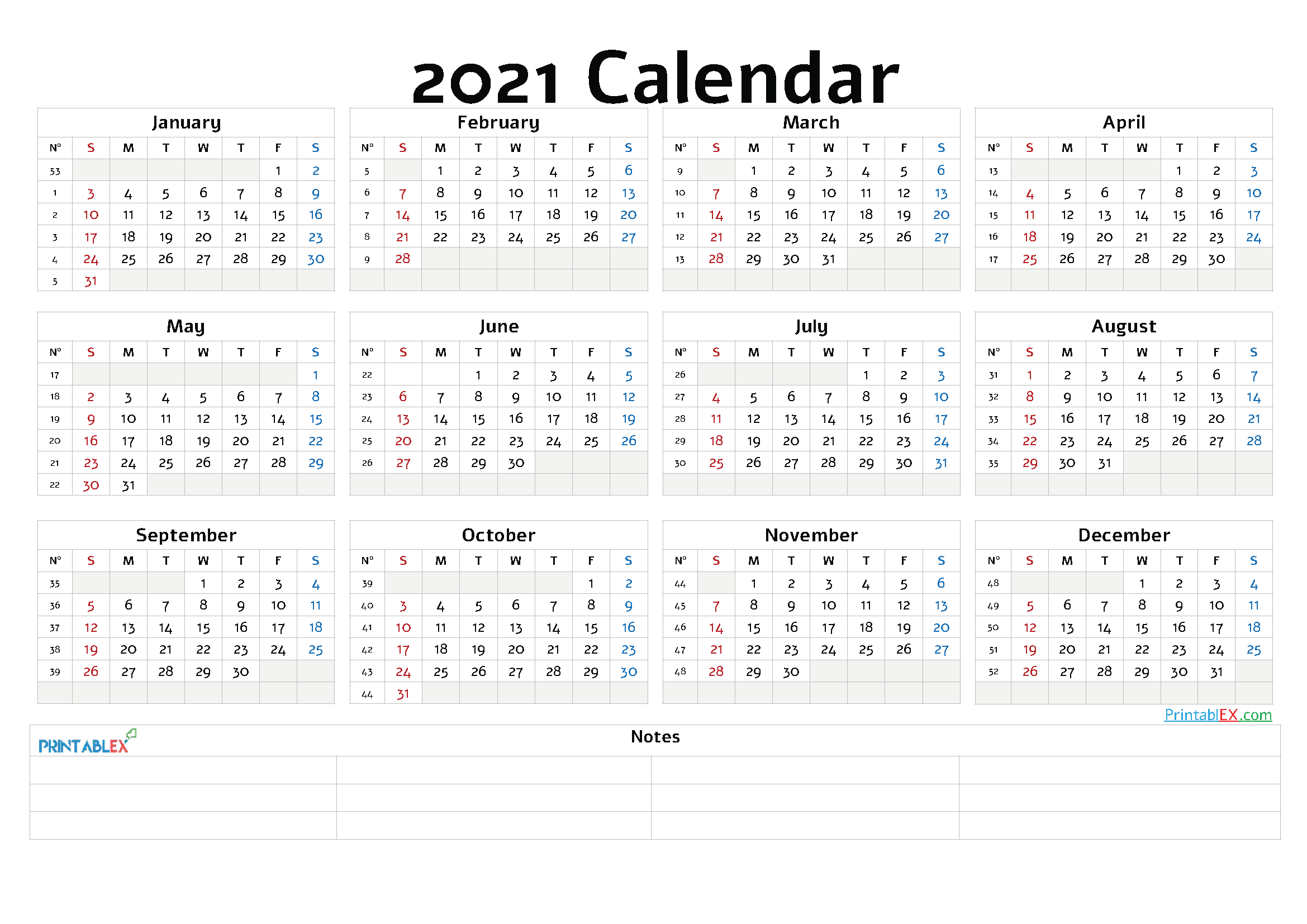 Printable 2021 Yearly Calendar With Week Numbers – 12 pertaining to Monthly Calendar By Week Number 2021