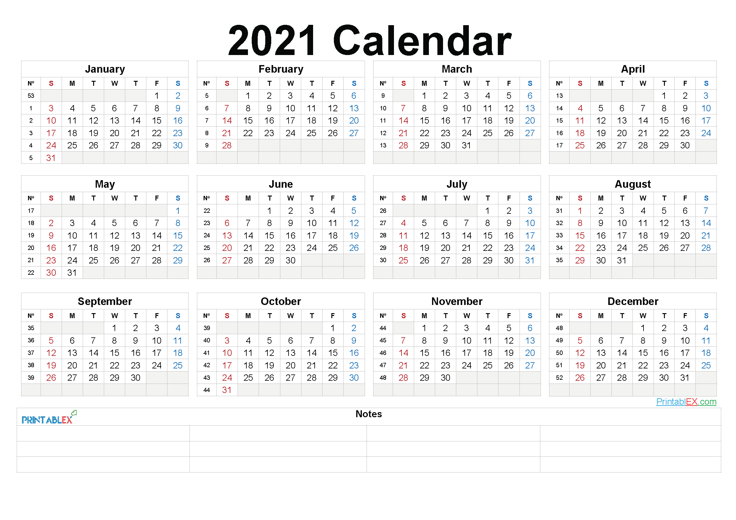 Printable 2021 Yearly Calendar With Week Numbers with Monthly Calendar By Week Number 2021