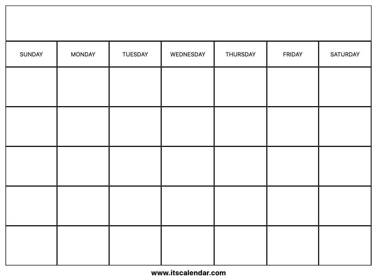 Printable Blank Calendar intended for Fill In Calendar Printable