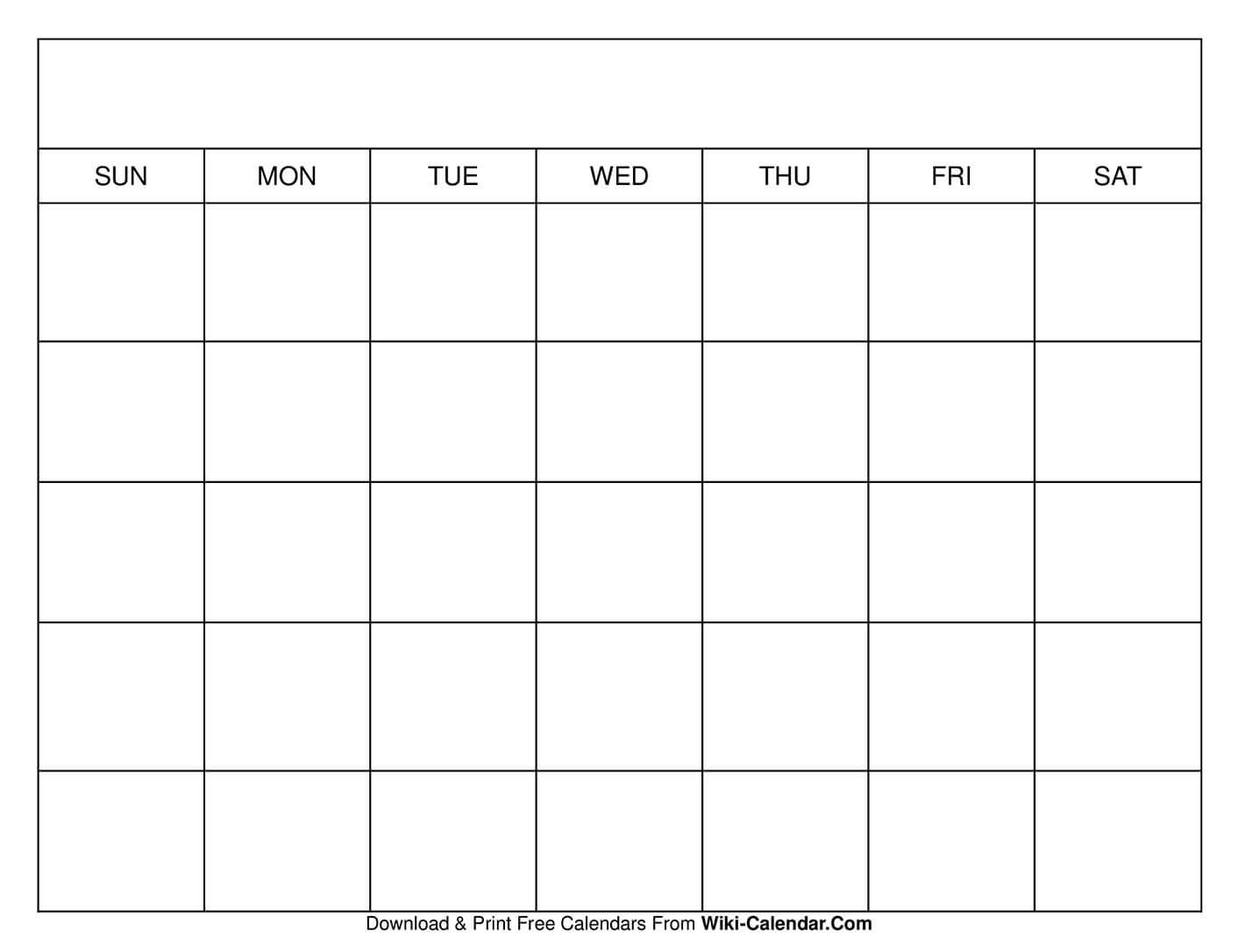 Printable Blank Calendar Templates for Free Fill In Printable Calendars