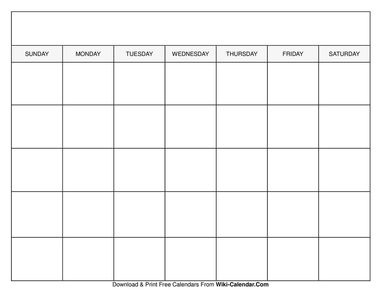 Printable Blank Calendar Templates in Free Monthly Calendar Printable And Editable