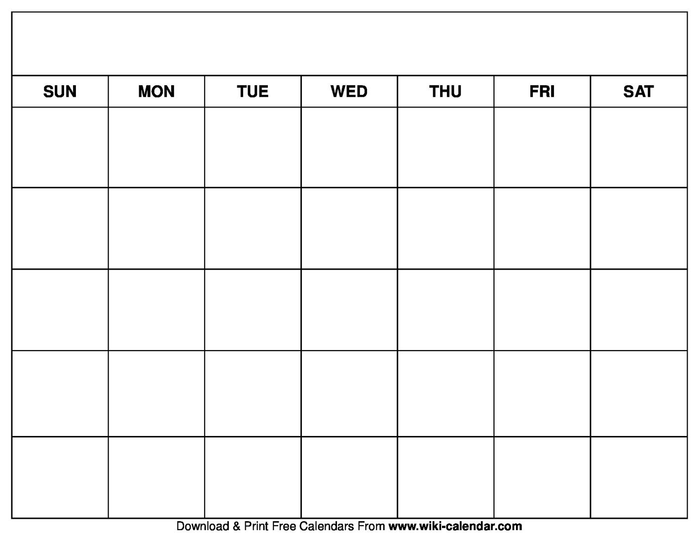 Printable Blank Calendar Templates intended for Fill In Calendar Printable