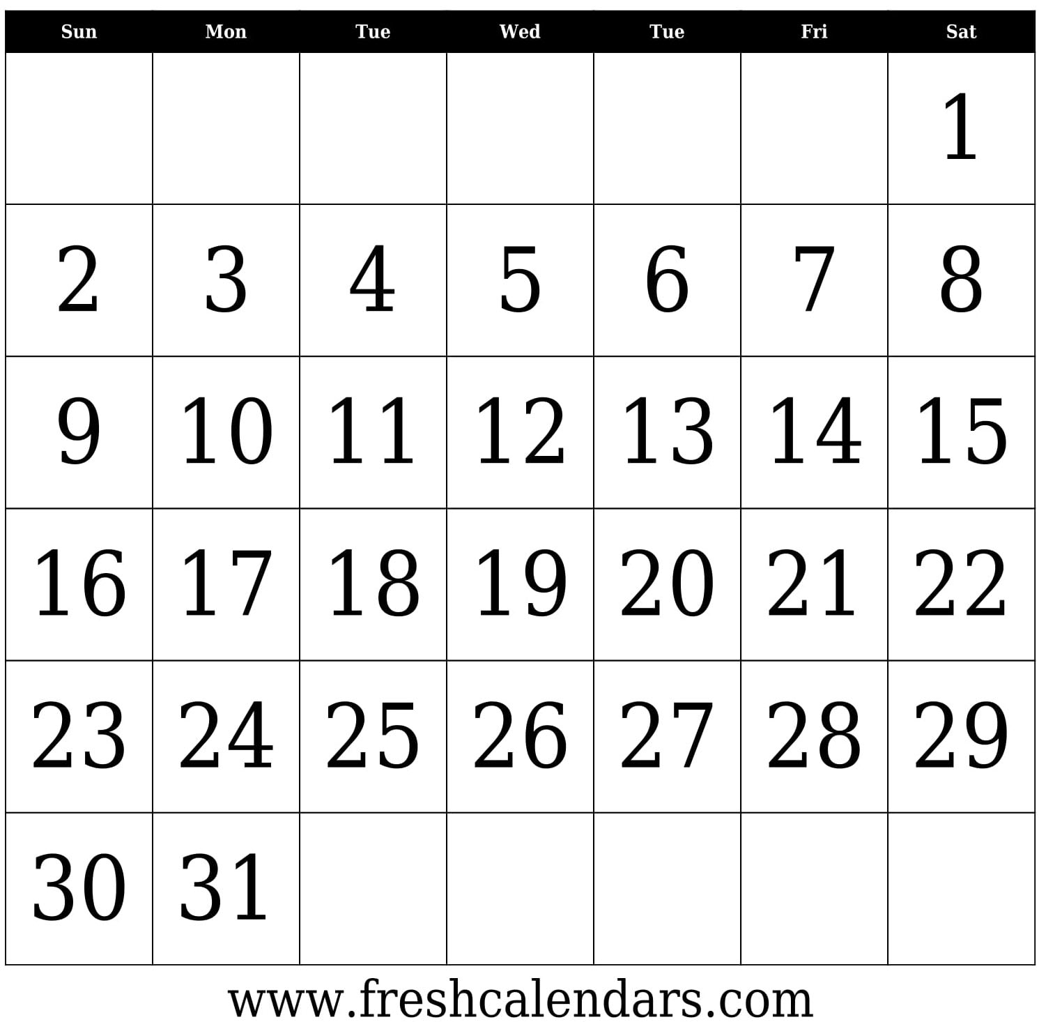 Printable Blank Calendar Templates with Large Bold Printable Calendar