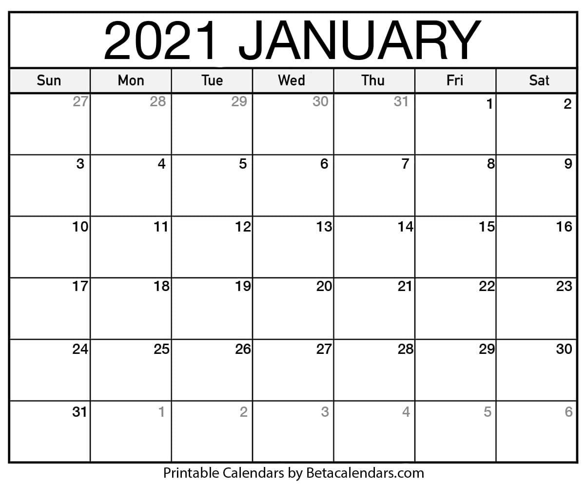 Printable Calendar 2021 | Download & Print Free Blank Calendars with regard to Fill In Calendar 2021 Printable