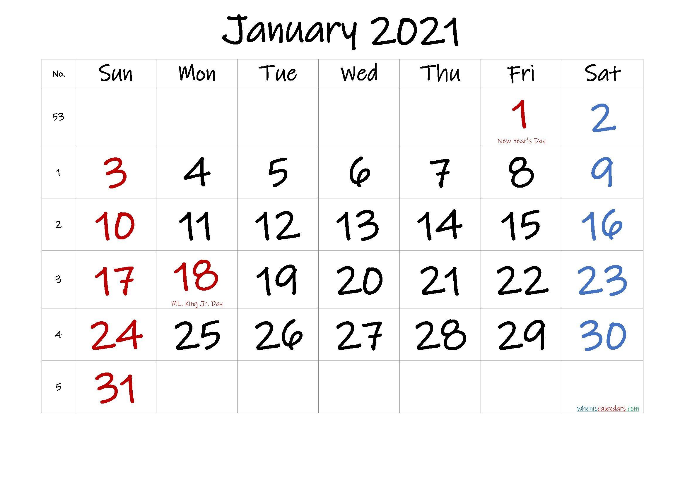 Printable Calendar January 2021 In 2020   Calendar inside Printable Blank Fill In Monthly Calendar 2021
