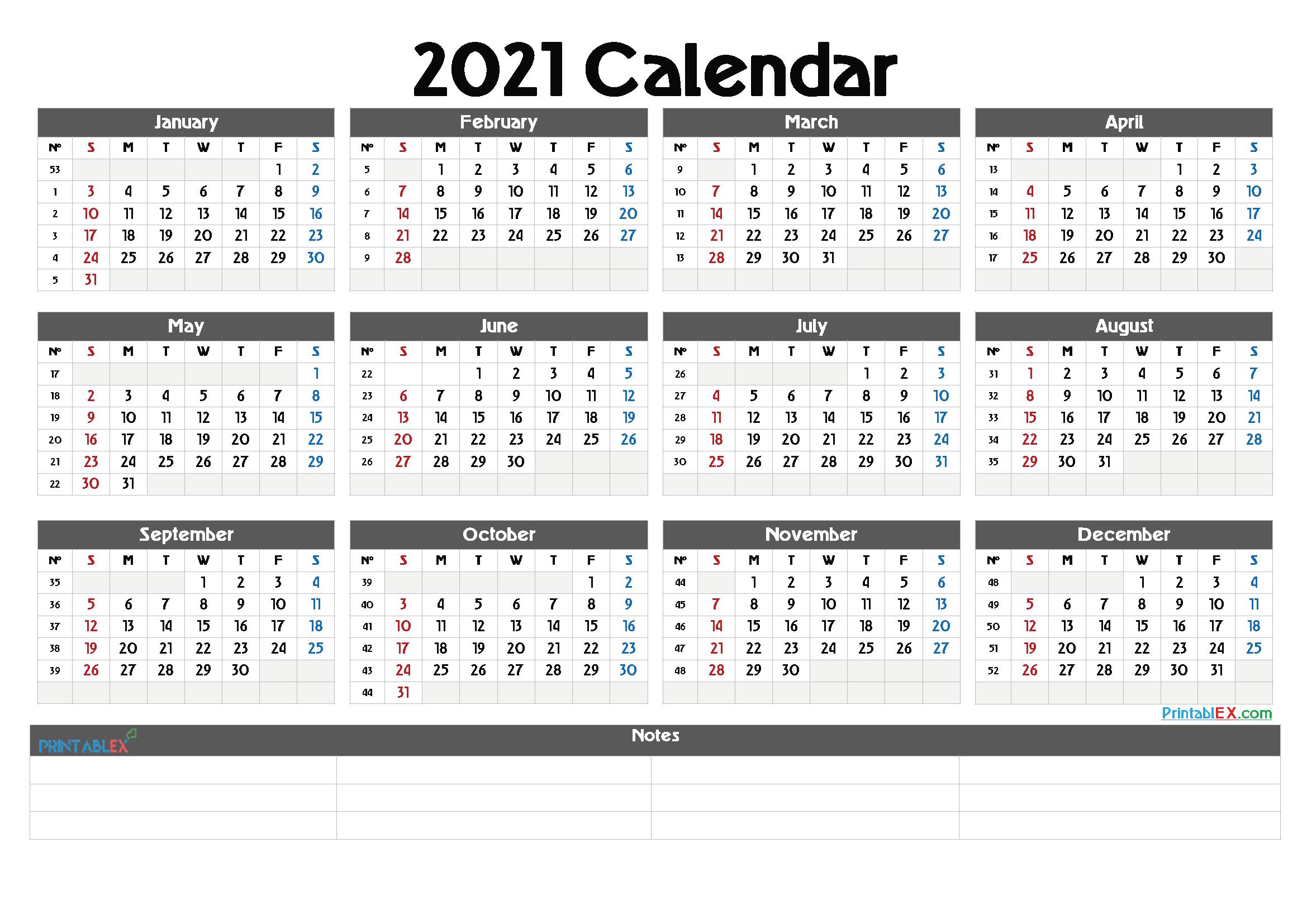 Printable Calendar Templates 2021 regarding 2021 Printable Yearly Calendar Template