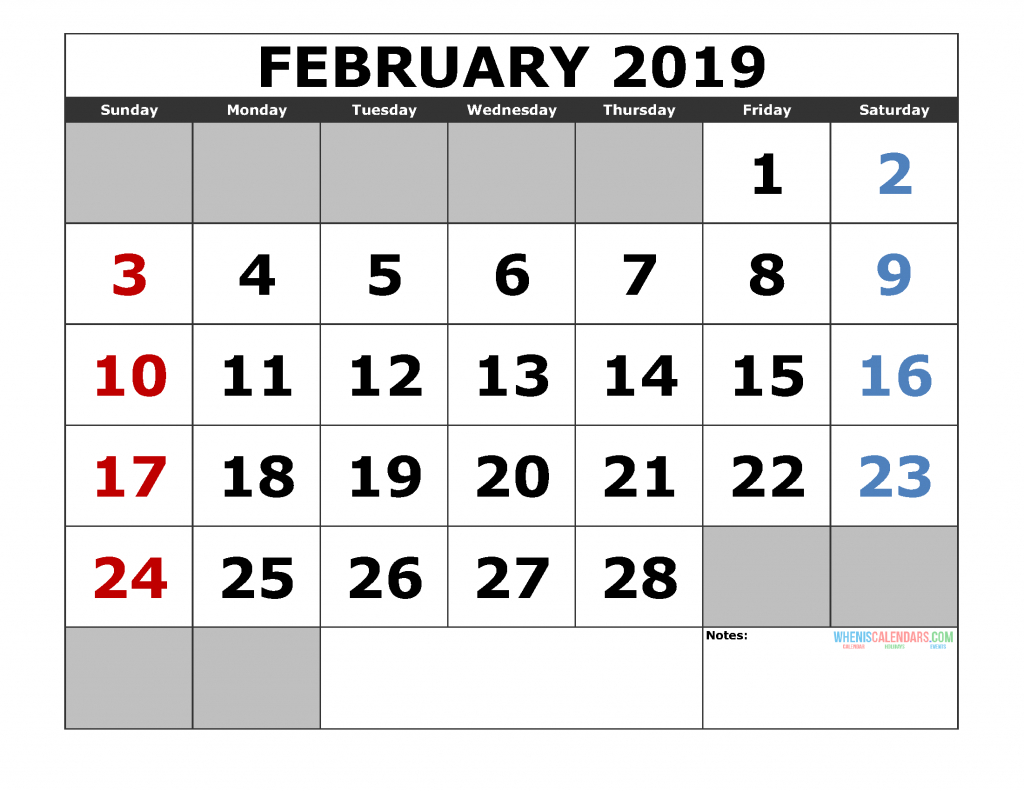 Printable February 2019 Calendar Template, Landscape Format regarding Large Bold Printable Calendar
