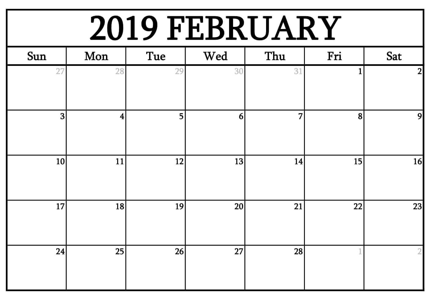 Printable February 2019 Pdf Waterproof Calendar | Calendarbuzz within Waterproof Calendar 2021