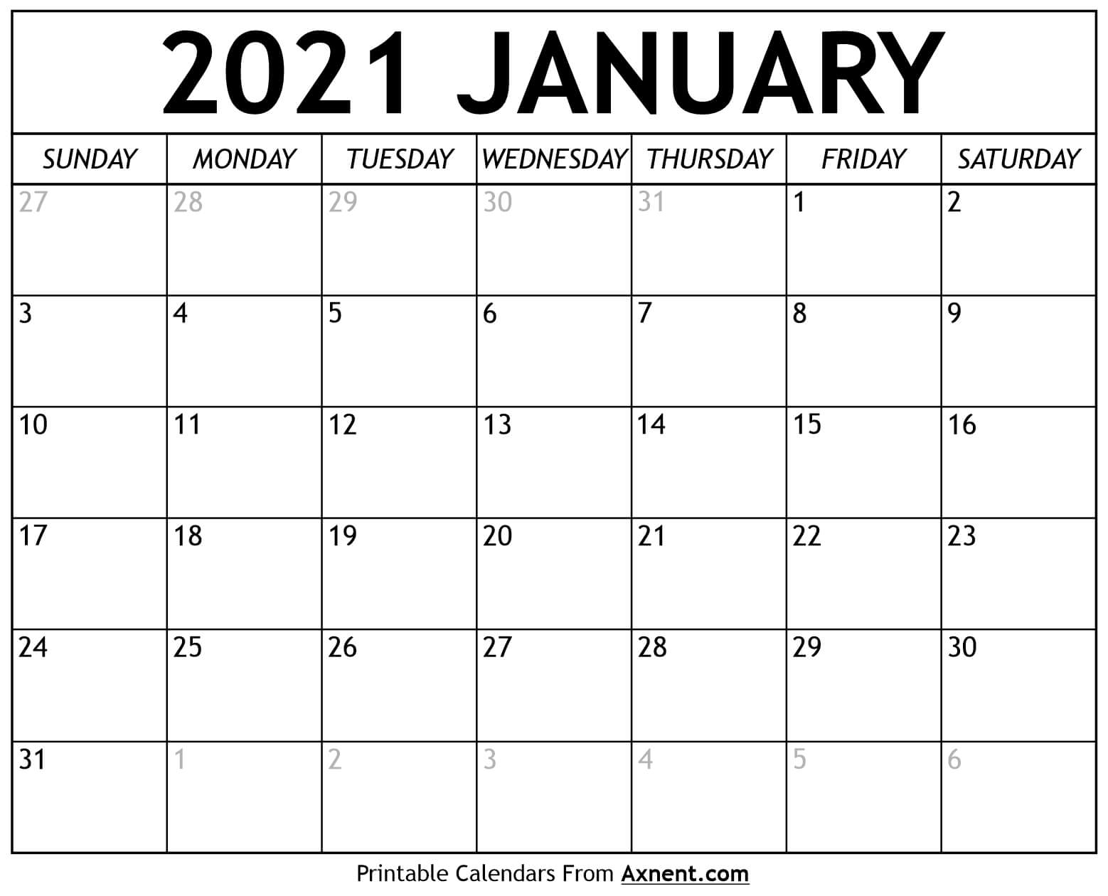 Printable January 2021 Calendar Template - Time Management in Shift Schedule Jan 2021