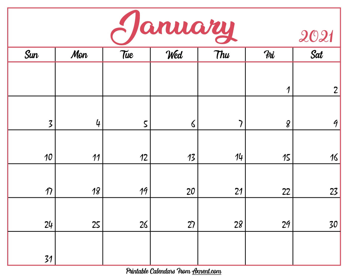 Printable January 2021 Calendar Template - Time Management with Shift Schedule Jan 2021