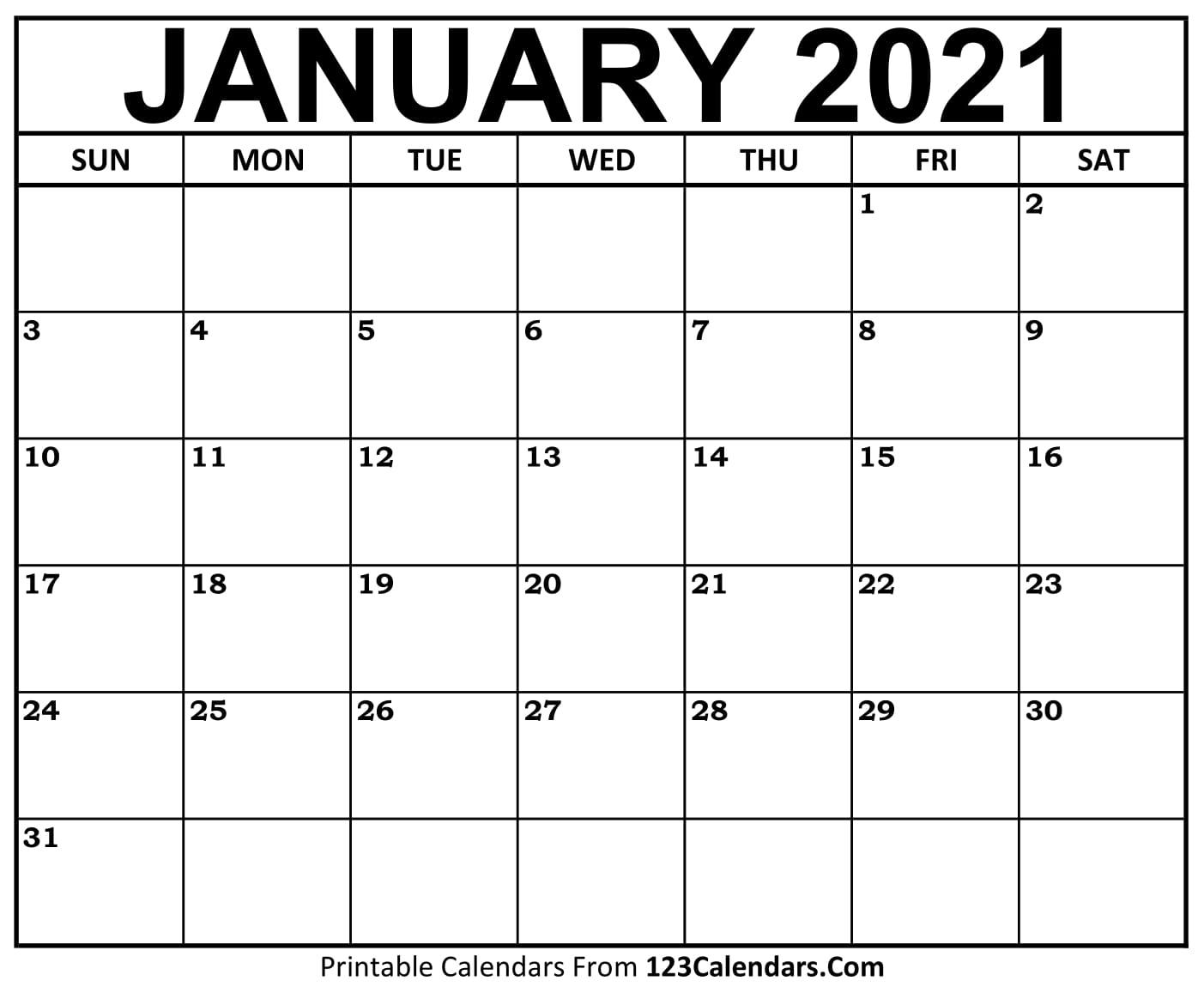Printable January 2021 Calendar Templates | 123Calendars intended for Printable Calendar 2021 And Fill On